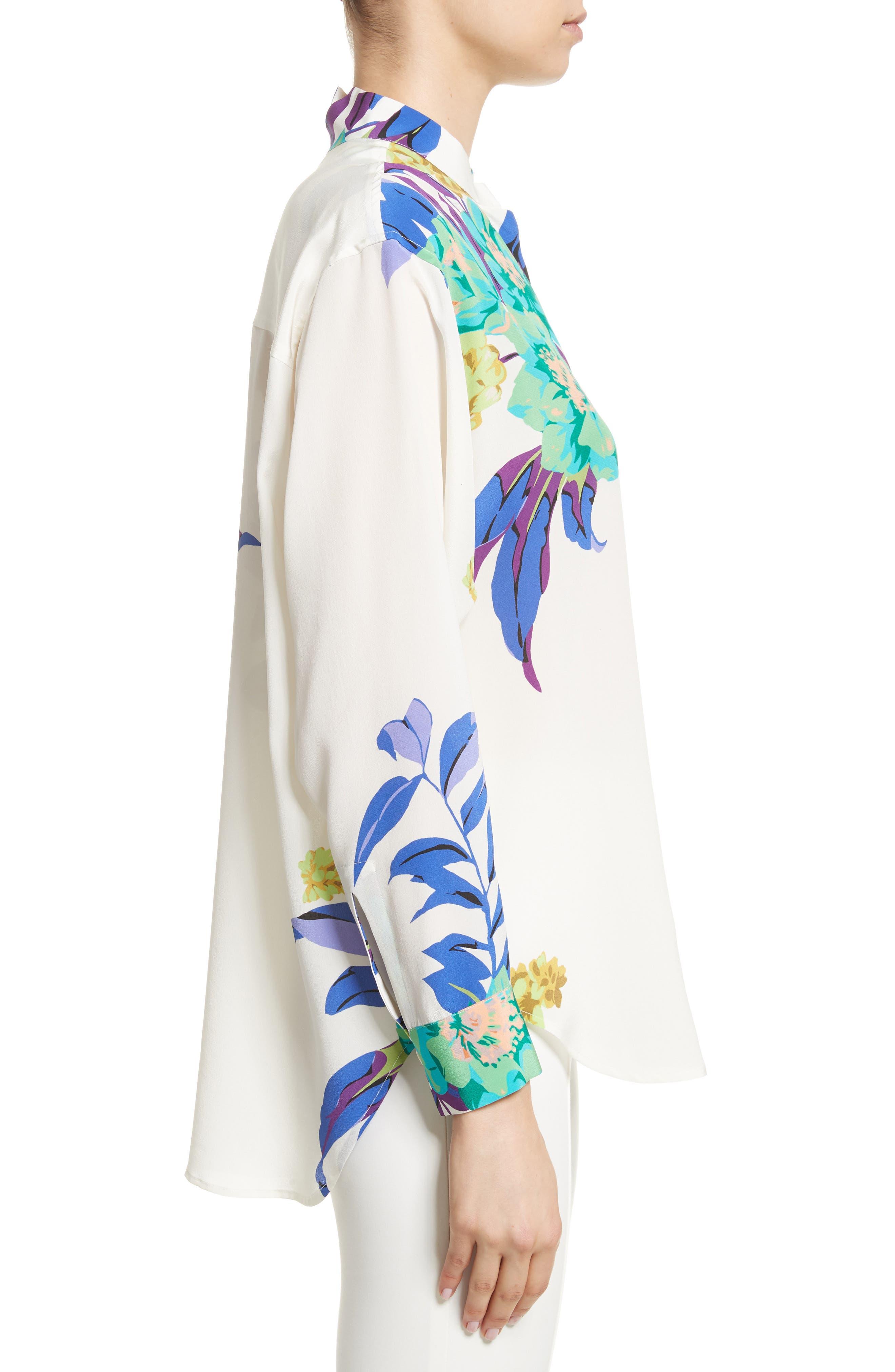 Floral Silk Blouse,                             Alternate thumbnail 3, color,                             100