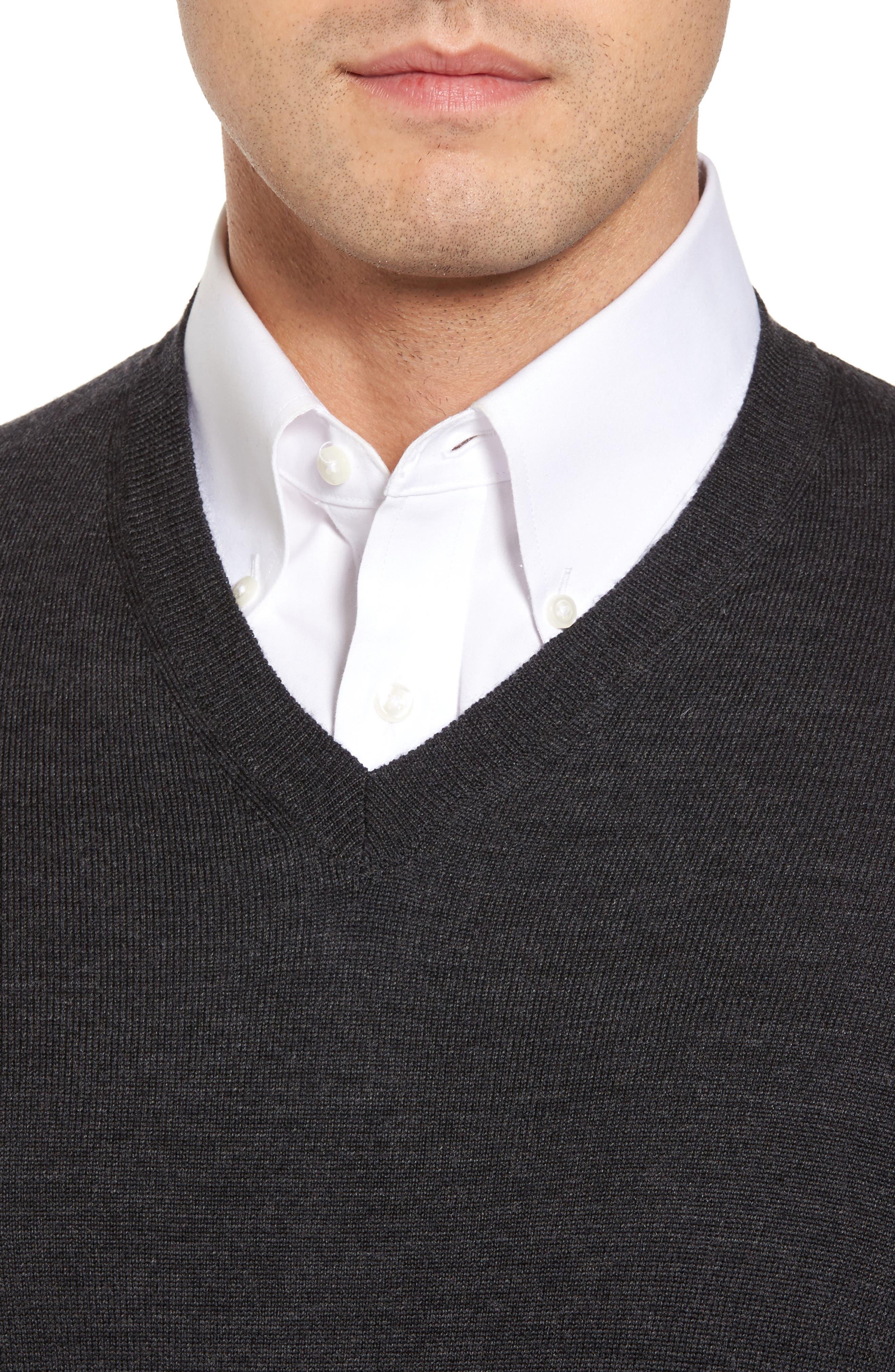 Merino Wool Blend V-Neck Sweater,                             Alternate thumbnail 4, color,                             020