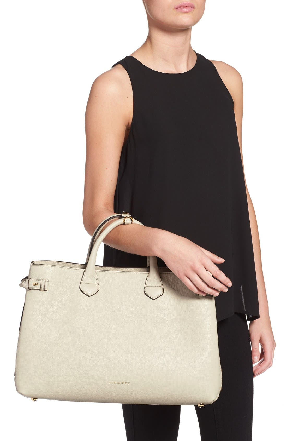 'Large Banner - Derby' House Check Calfskin Leather Tote,                             Alternate thumbnail 2, color,                             101
