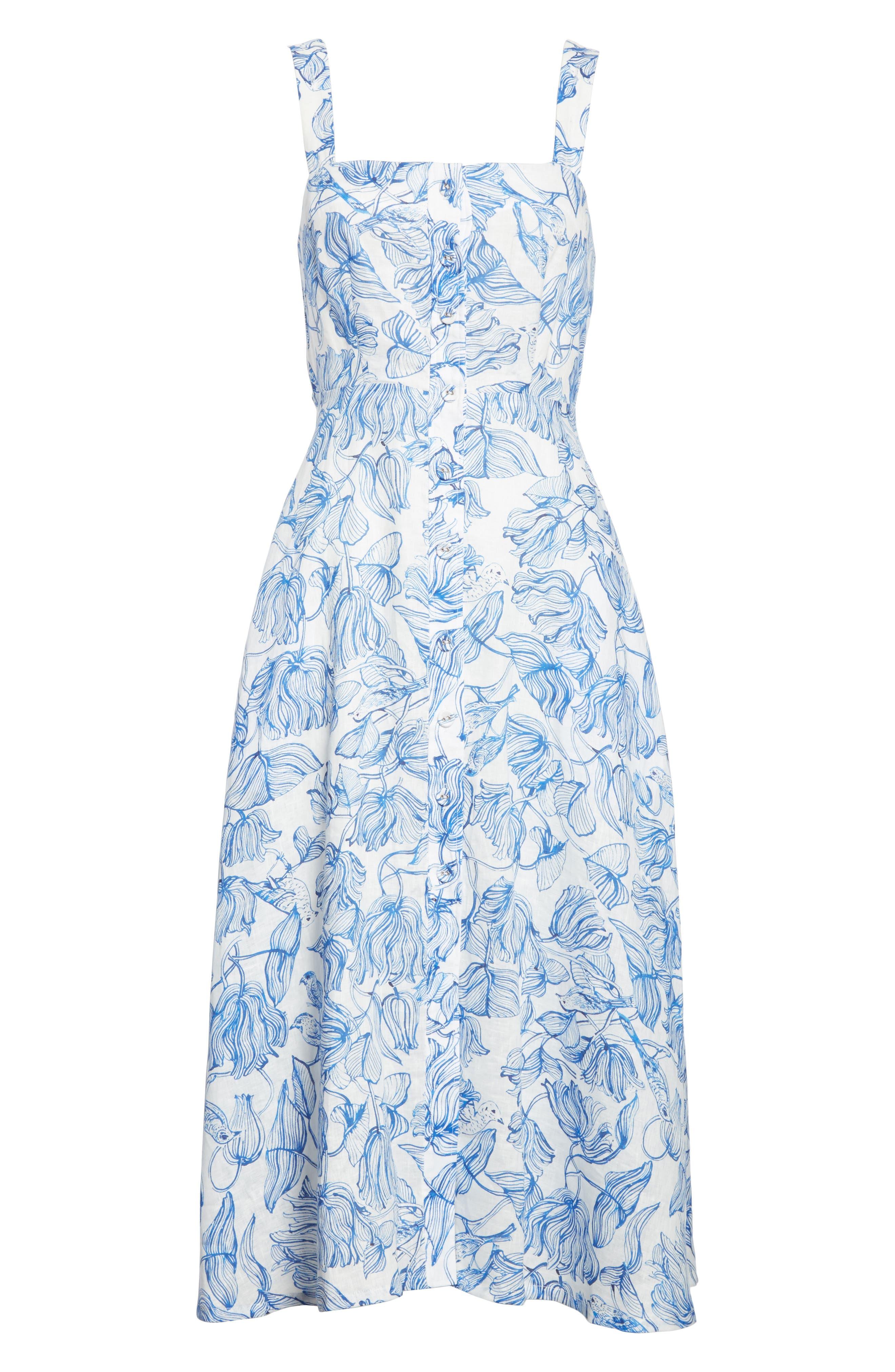 RACHEL COMEY,                             Lido Linen Dress,                             Alternate thumbnail 6, color,                             435