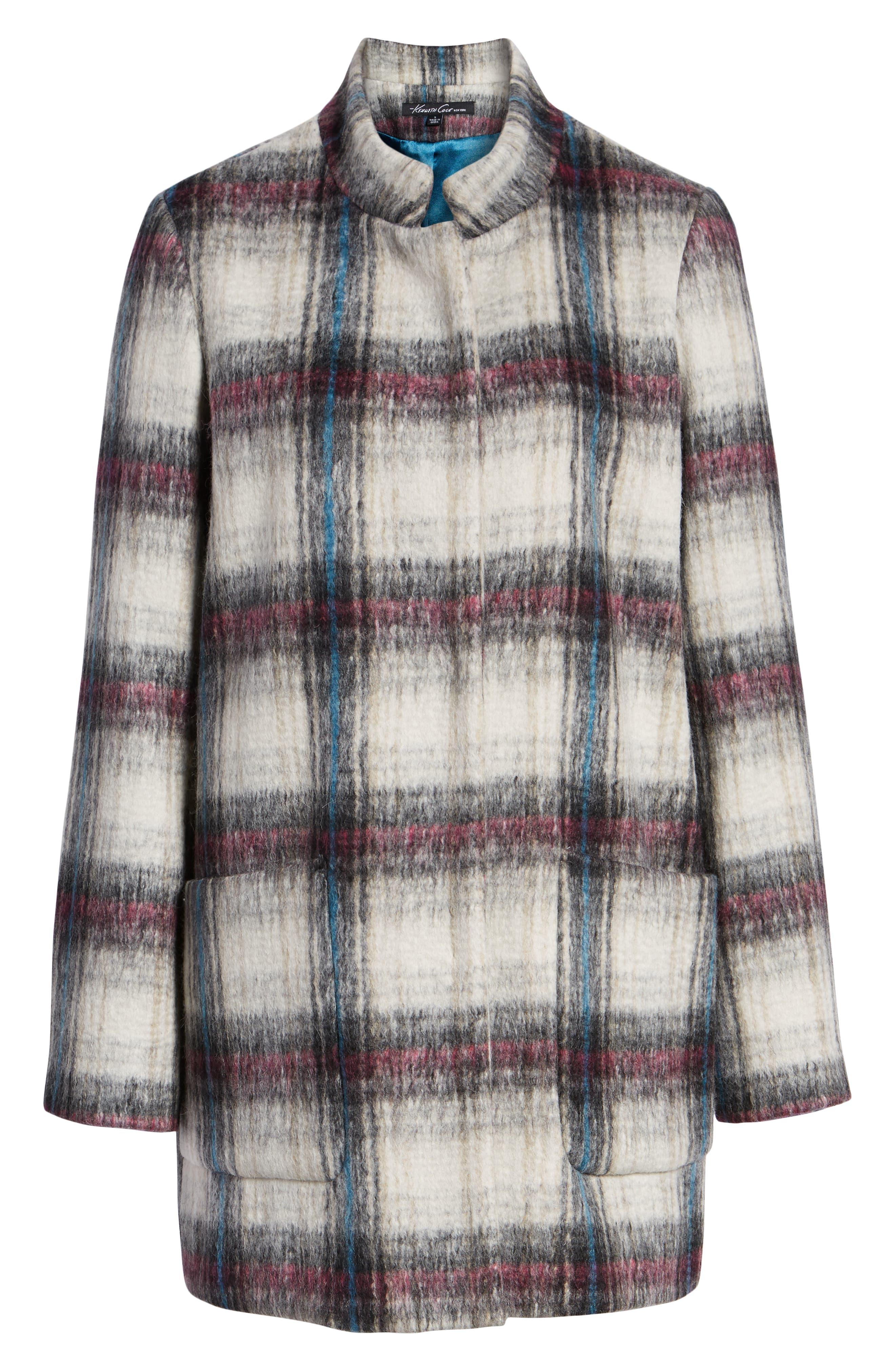 Drop Shoulder Plaid Wool Blend Coat,                             Alternate thumbnail 5, color,                             250
