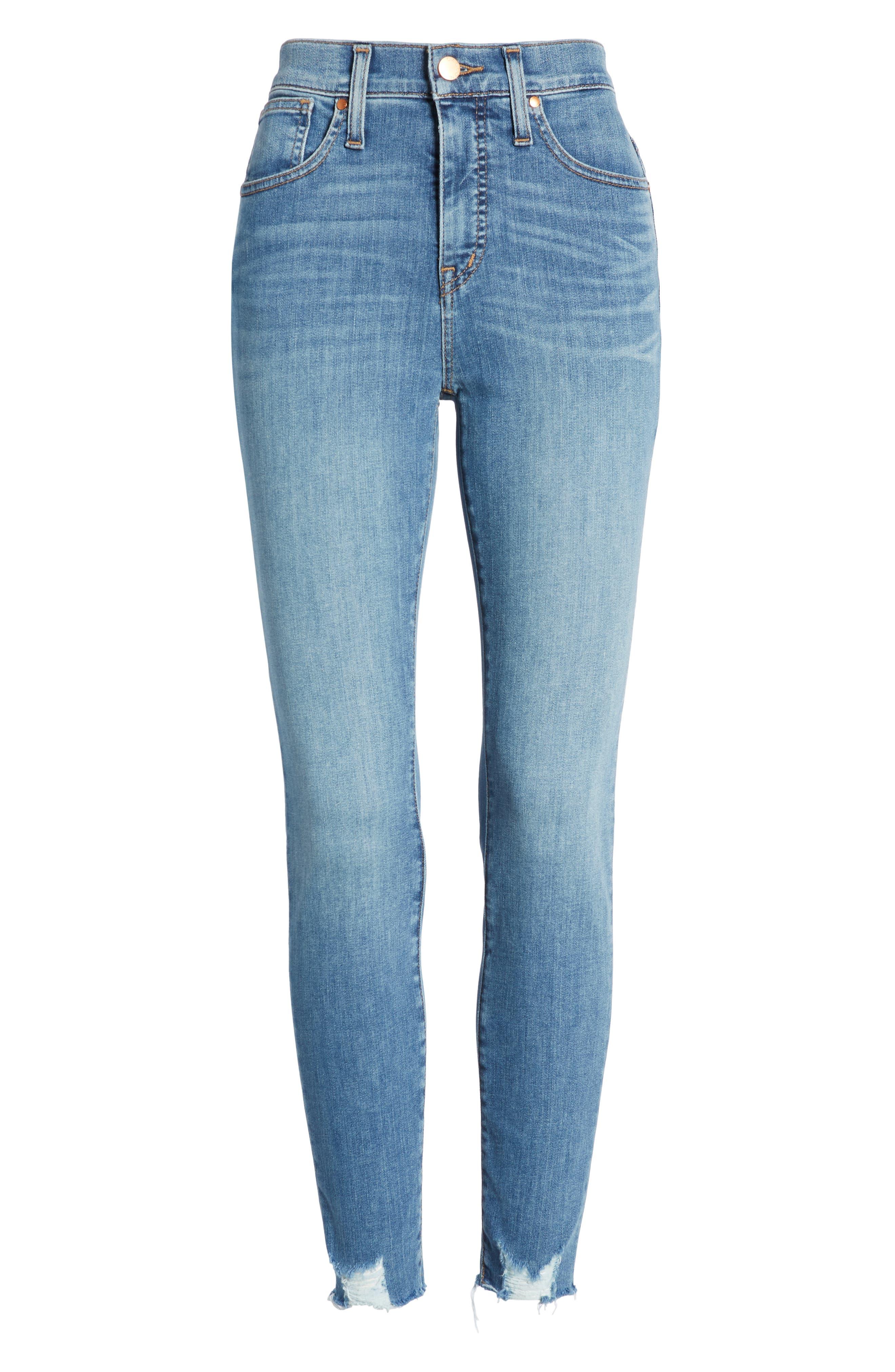 Sierra High Waist Raw Hem Skinny Jeans,                             Alternate thumbnail 7, color,                             NORIKO