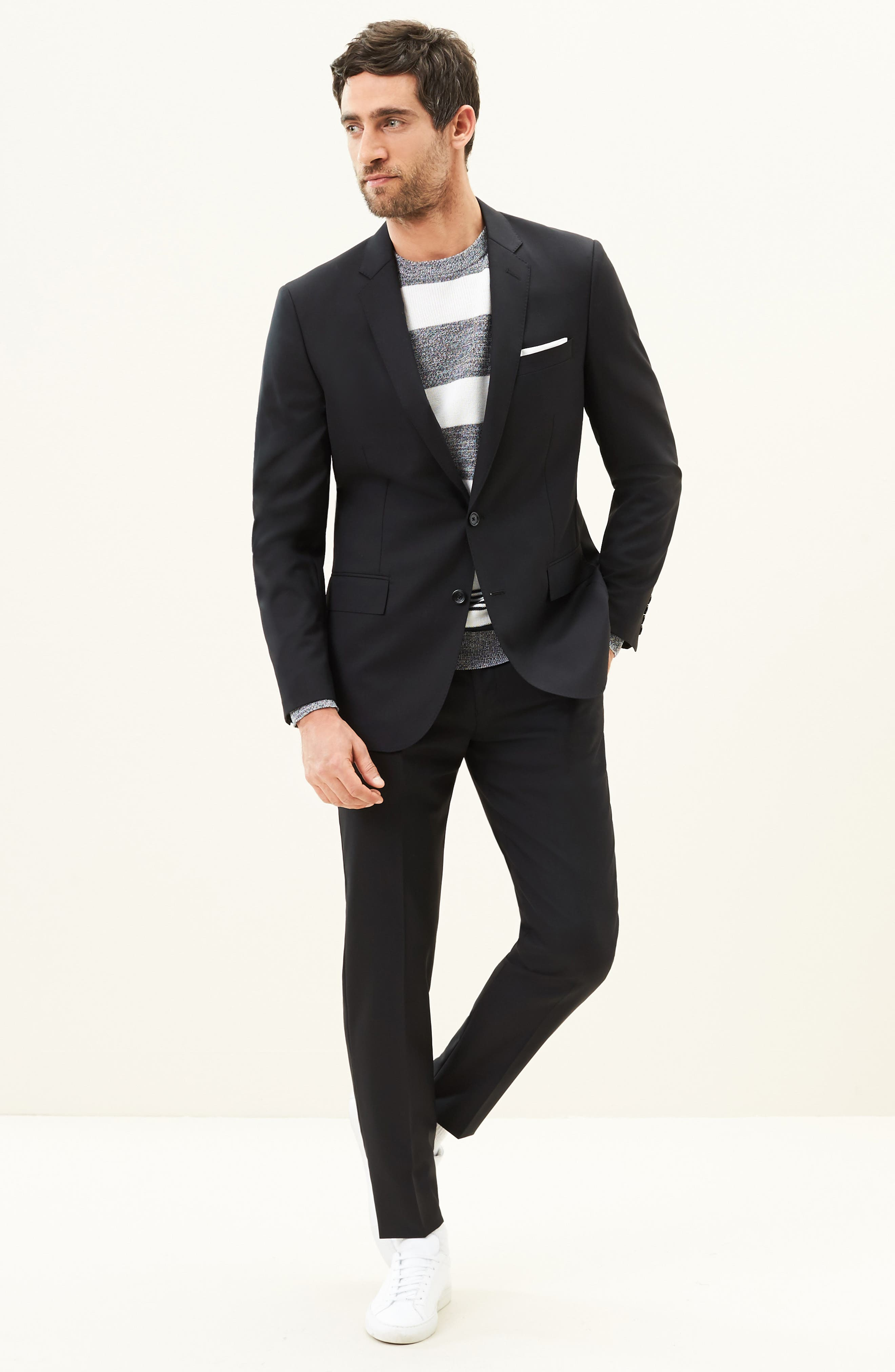 Ludlow Trim Fit Solid Wool Vest,                             Alternate thumbnail 2, color,                             001