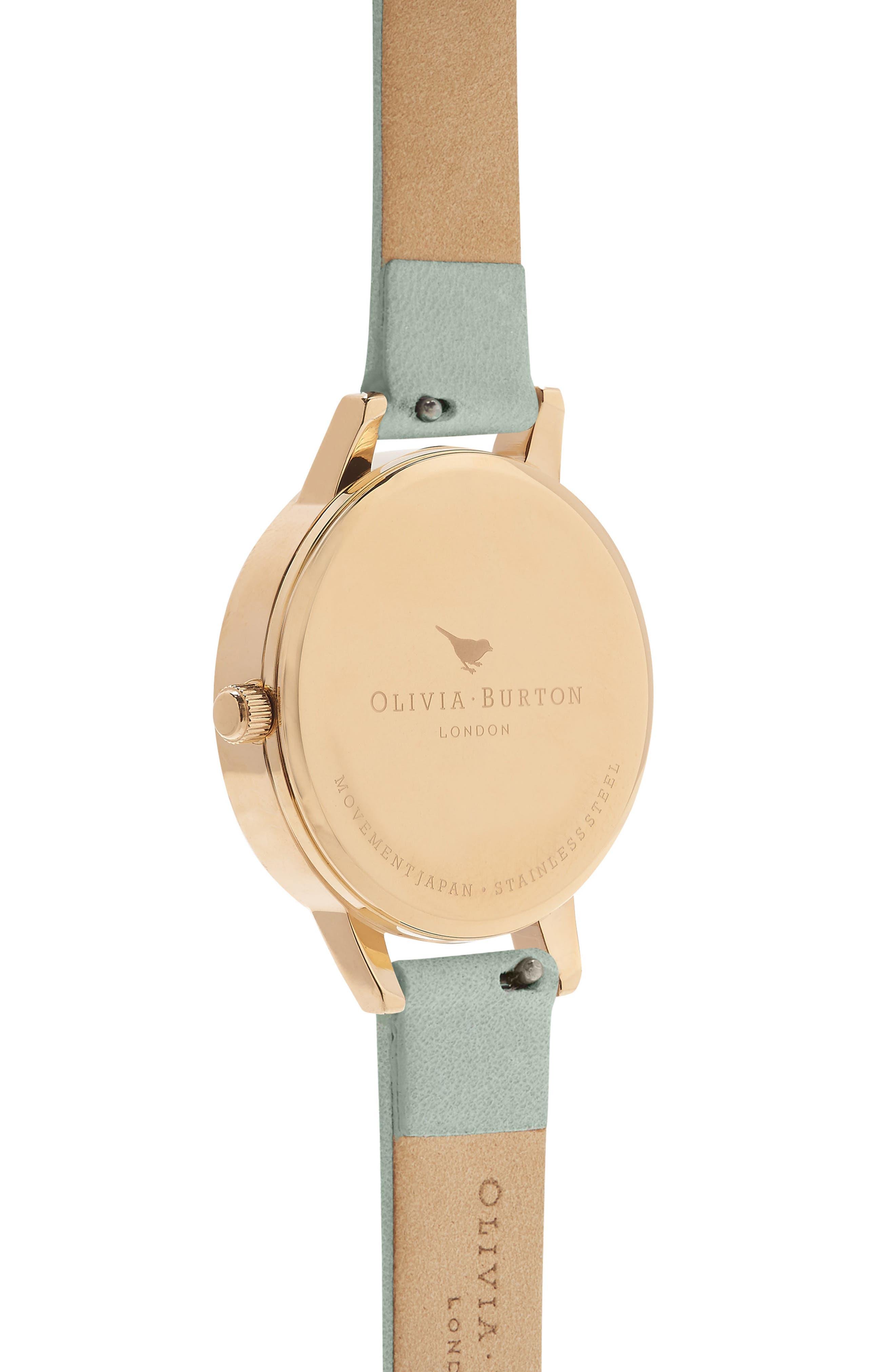 Signature Floral Leather Strap Watch, 30mm,                             Alternate thumbnail 2, color,                             SAGE/ FLORAL/ GOLD