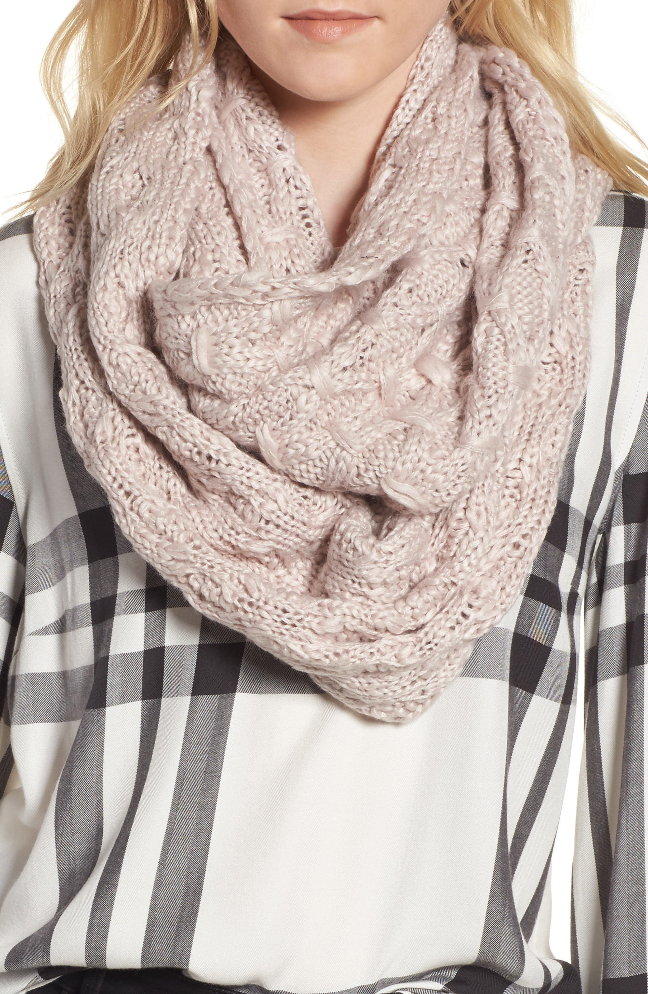 Solid Chunky Knit Infinity Scarf,                             Main thumbnail 5, color,