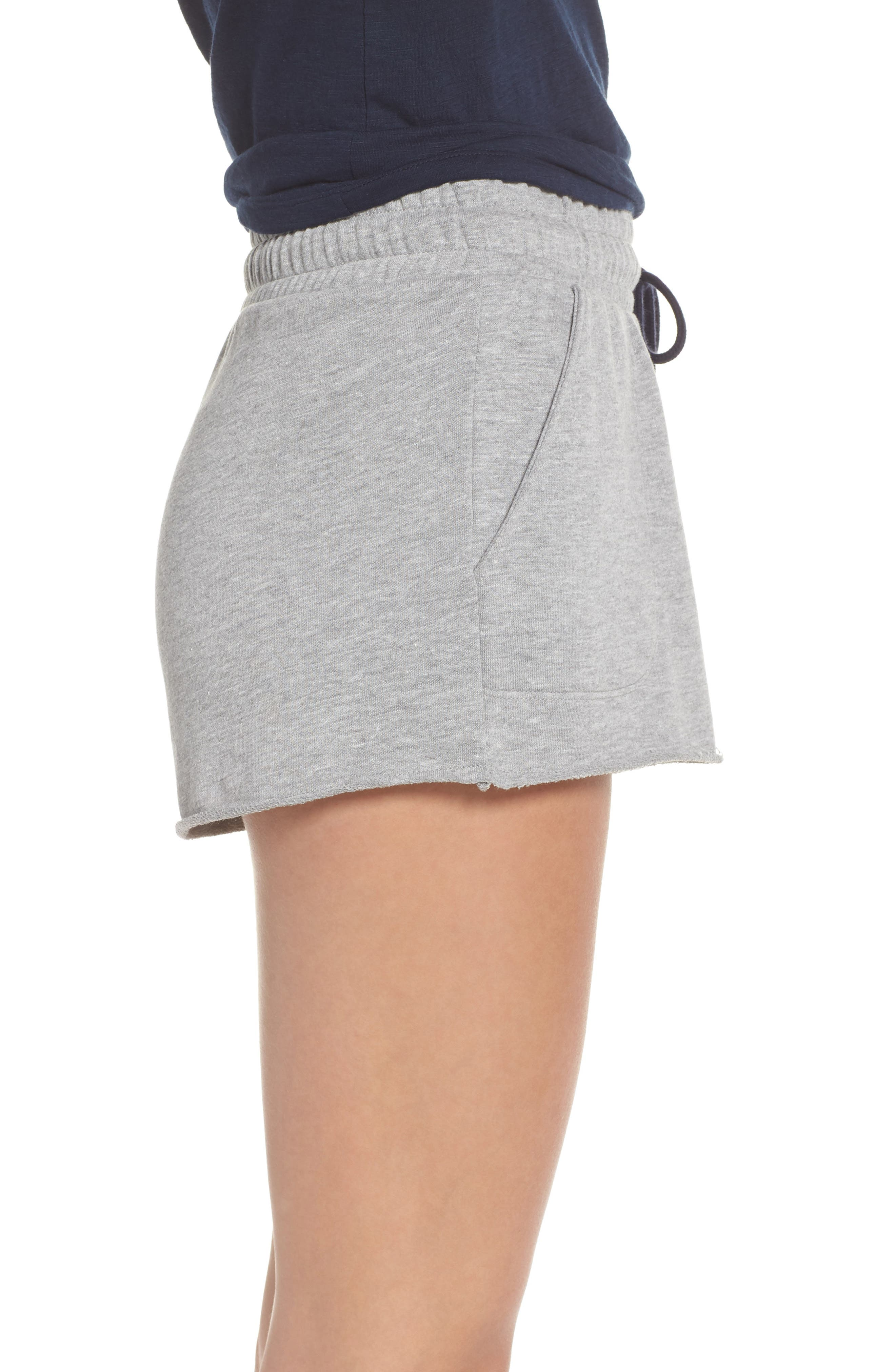 Raw Edge Pajama Shorts,                             Alternate thumbnail 3, color,                             020