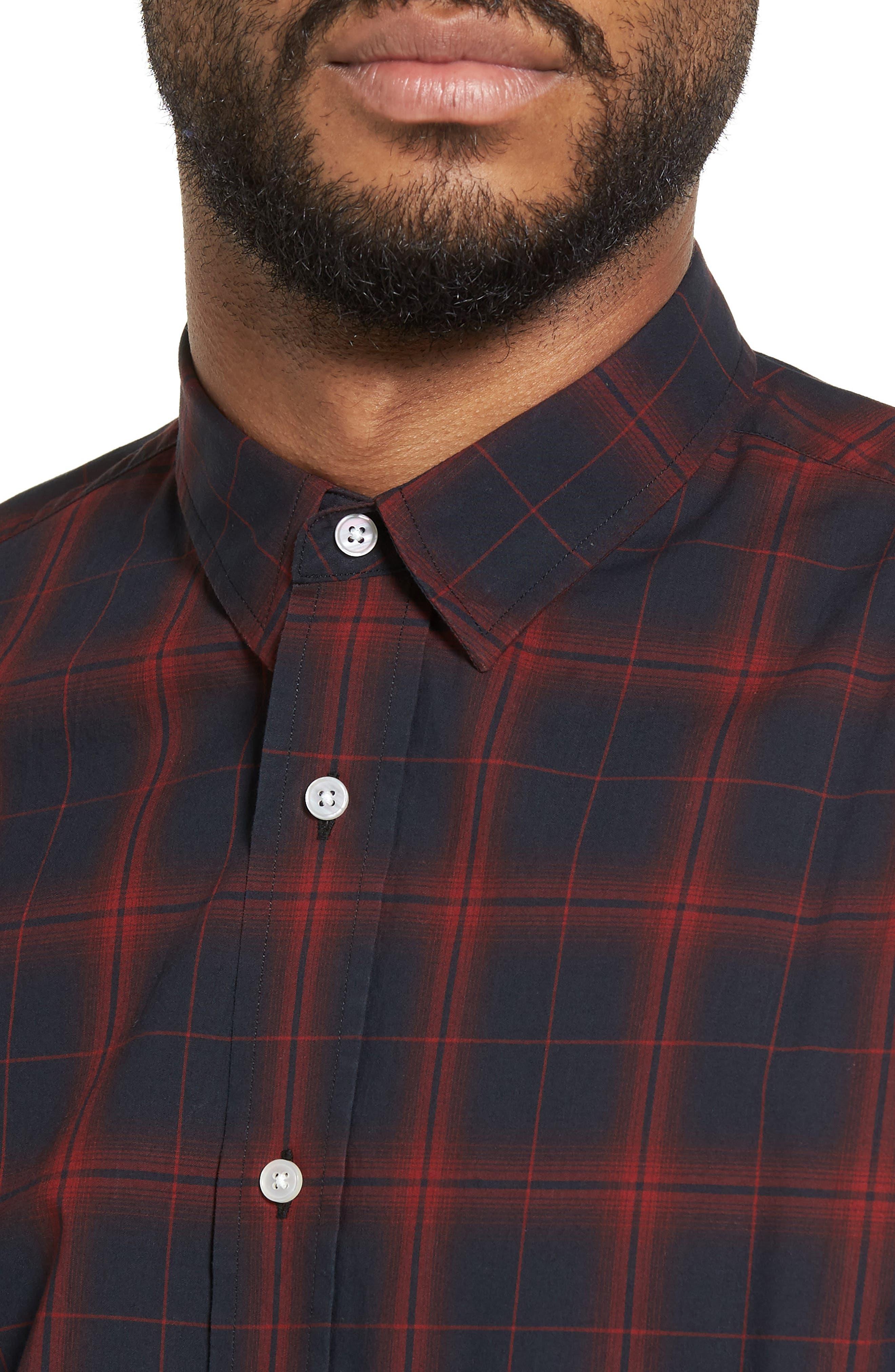 Trim Fit Windowpane Check Sport Shirt,                             Alternate thumbnail 4, color,                             001