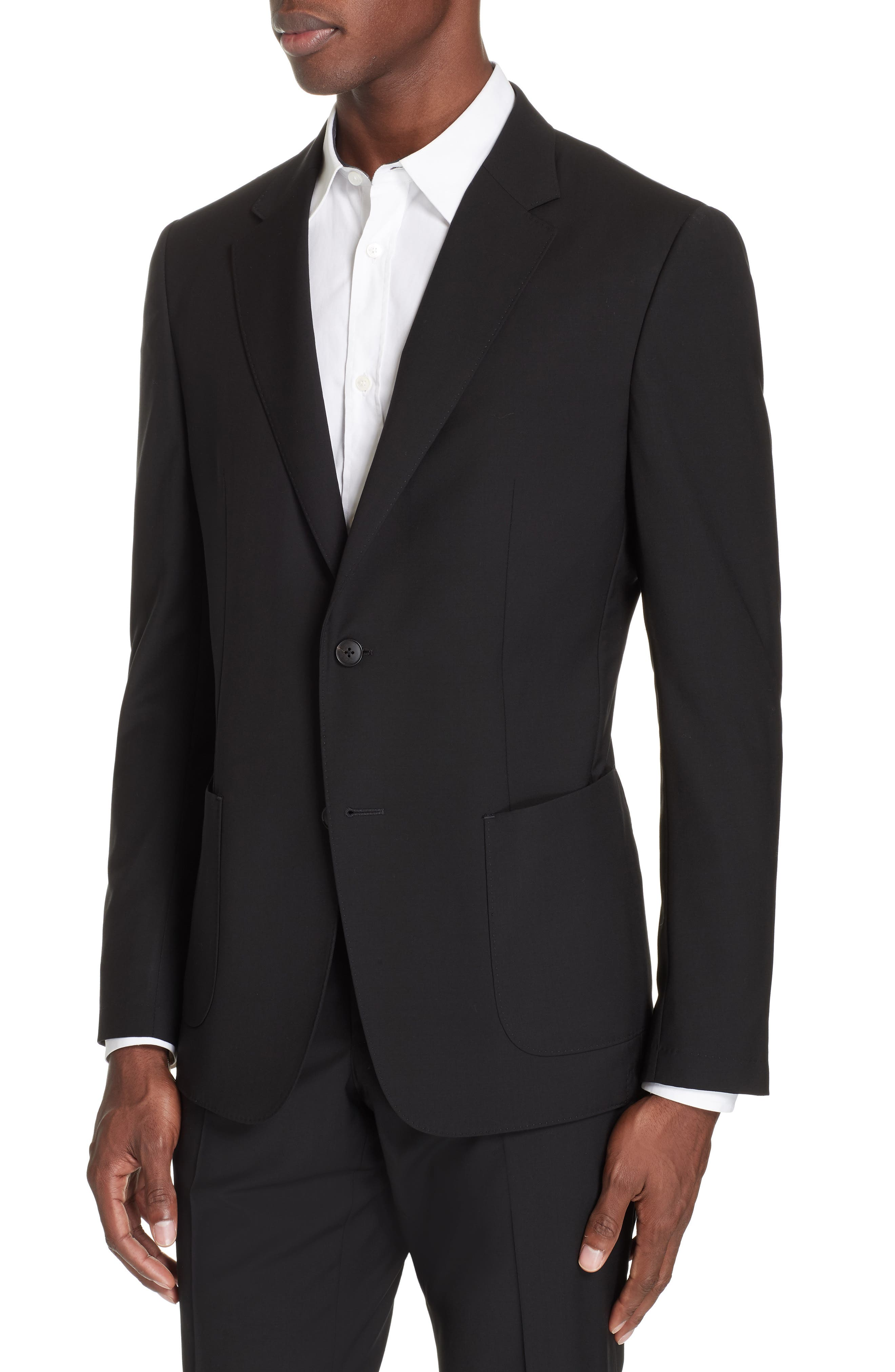 Wash and Go Trim Fit Solid Wool Suit,                             Alternate thumbnail 4, color,                             BLACK