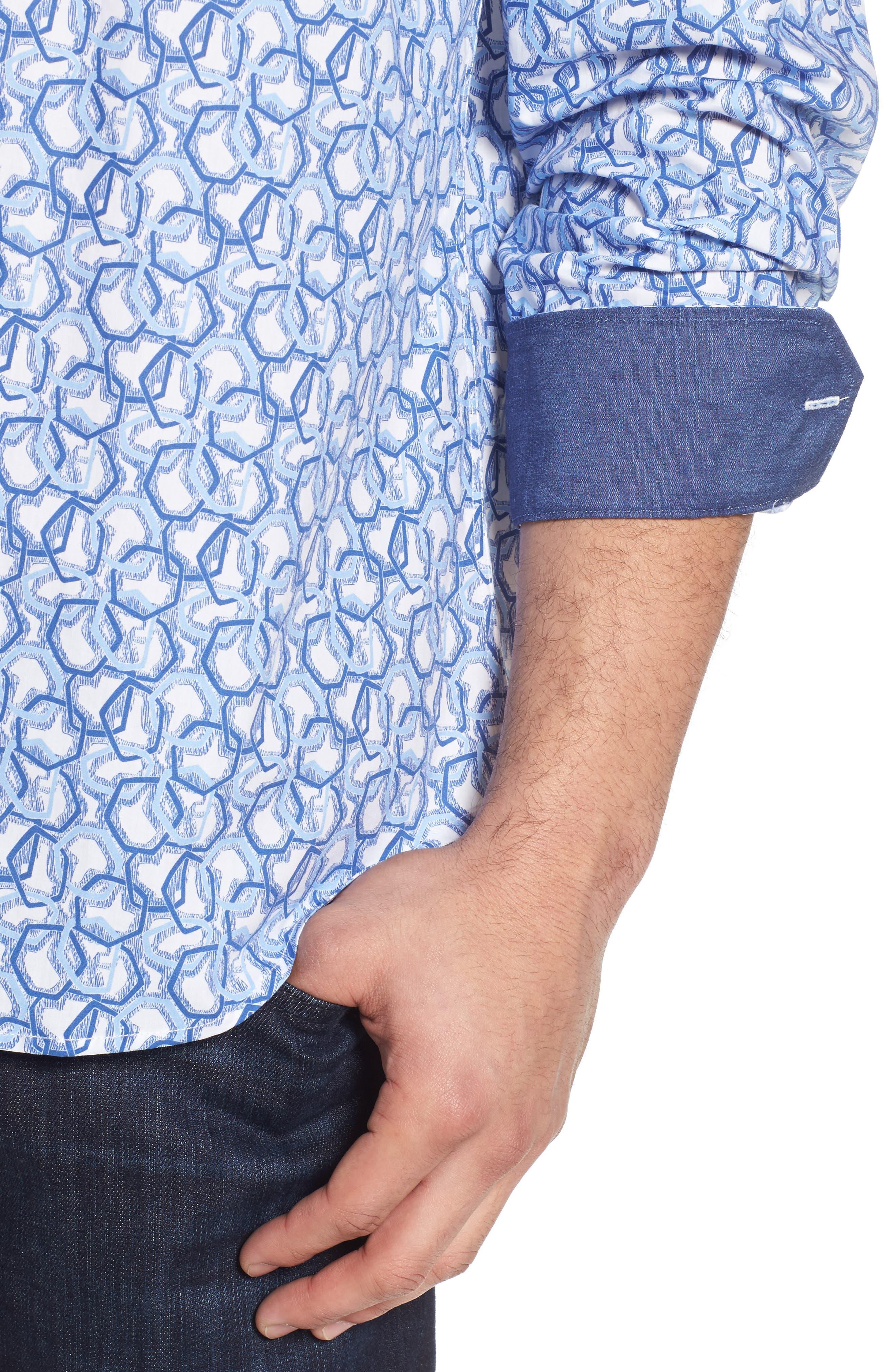 Classic Fit Print Sport Shirt,                             Alternate thumbnail 4, color,                             411