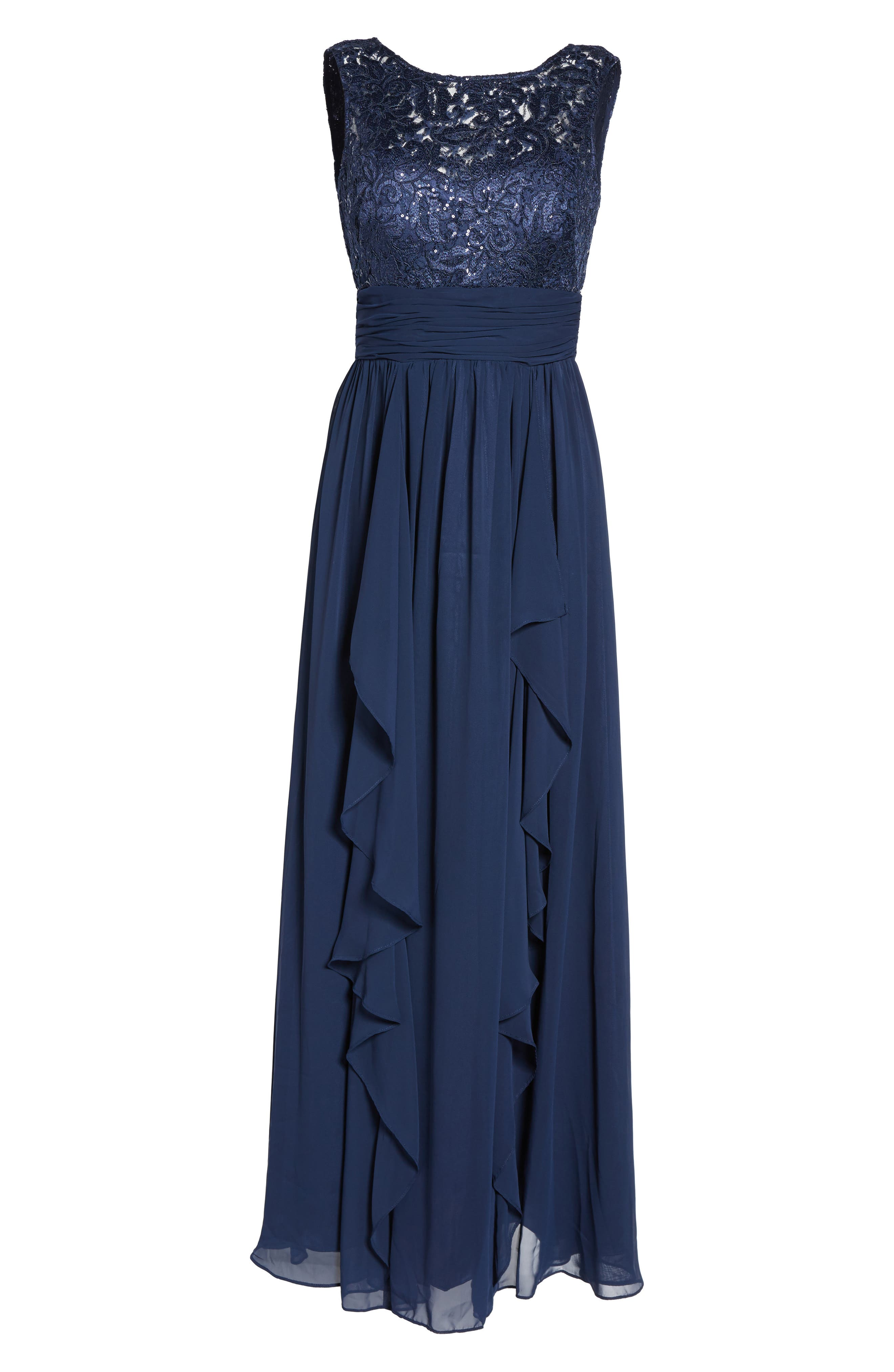 Lace & Chiffon Gown,                         Main,                         color, 410