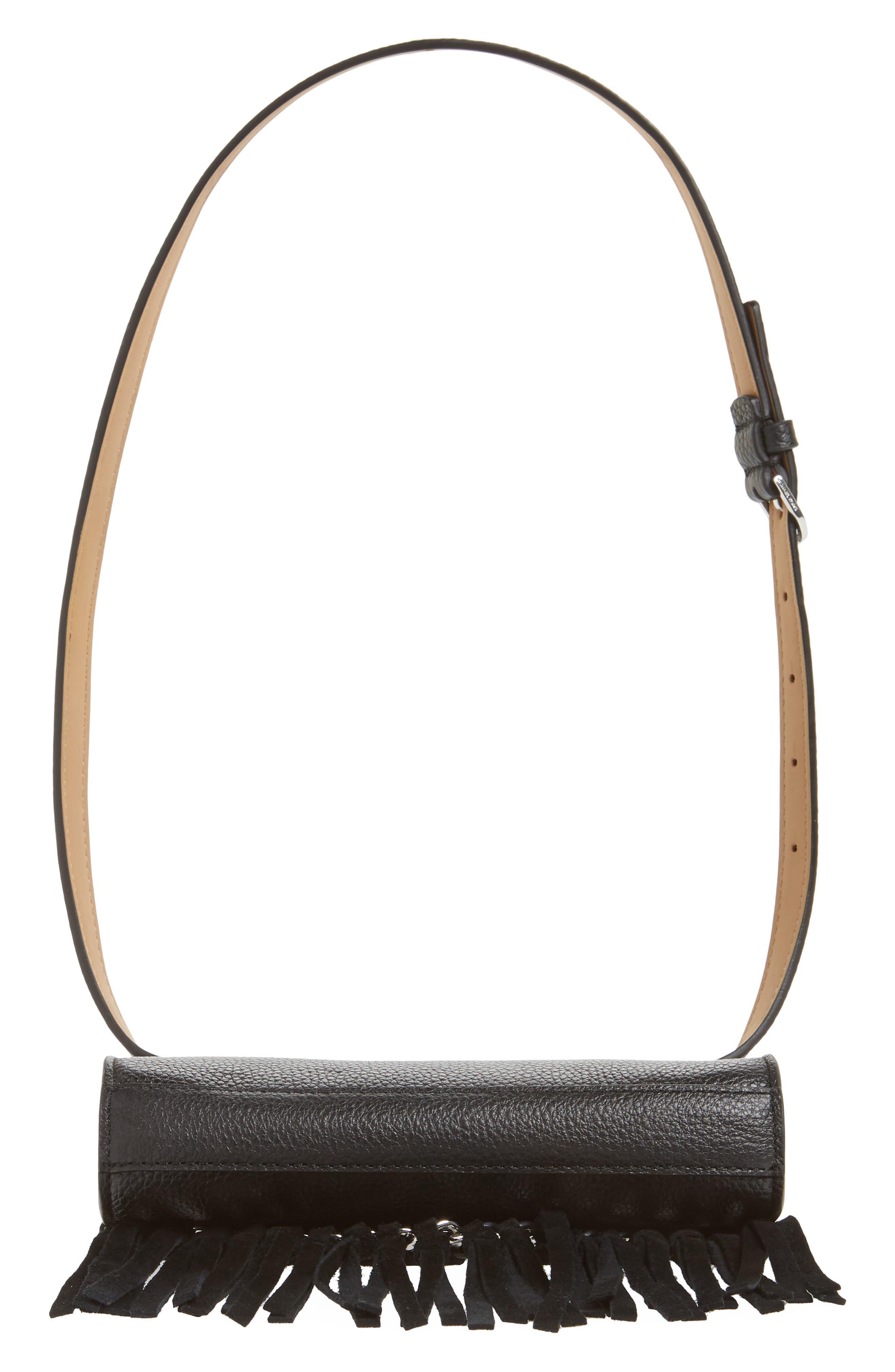 Fringe Leather Belt Bag,                             Alternate thumbnail 7, color,                             BLACK / POL SILVER