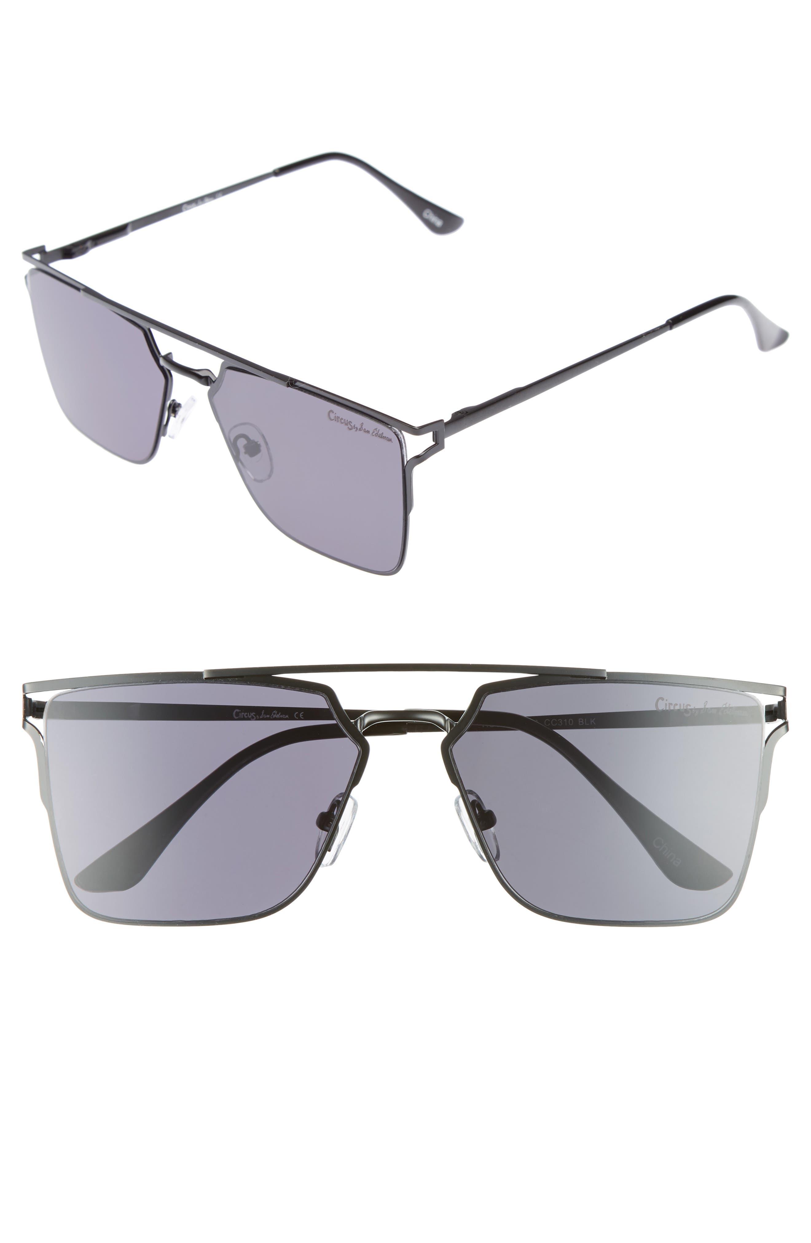 56mm Flat Top Sunglasses,                             Main thumbnail 1, color,                             001