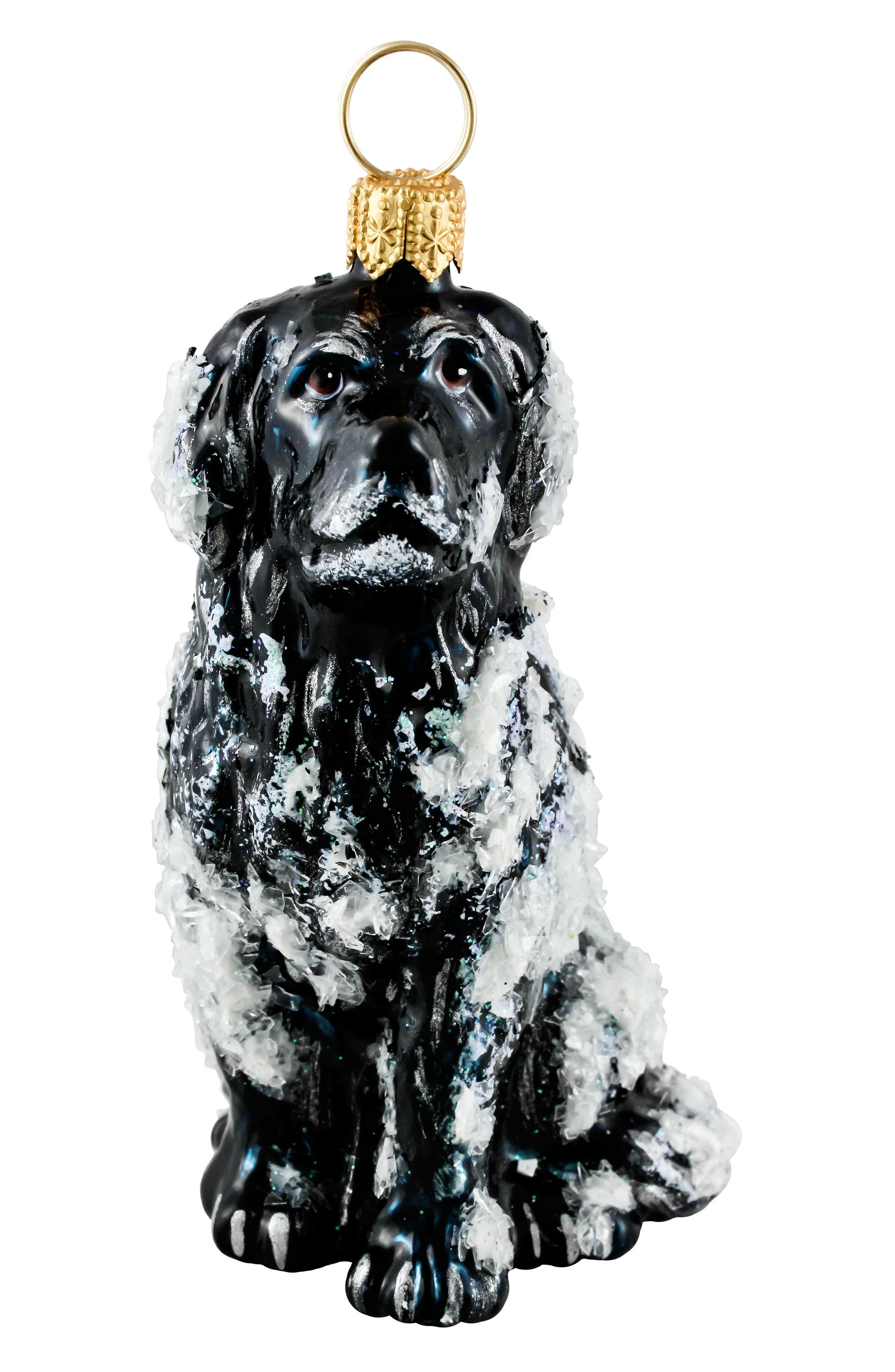 Snowy Newfoundland Dog Ornament,                             Main thumbnail 1, color,                             BLACK