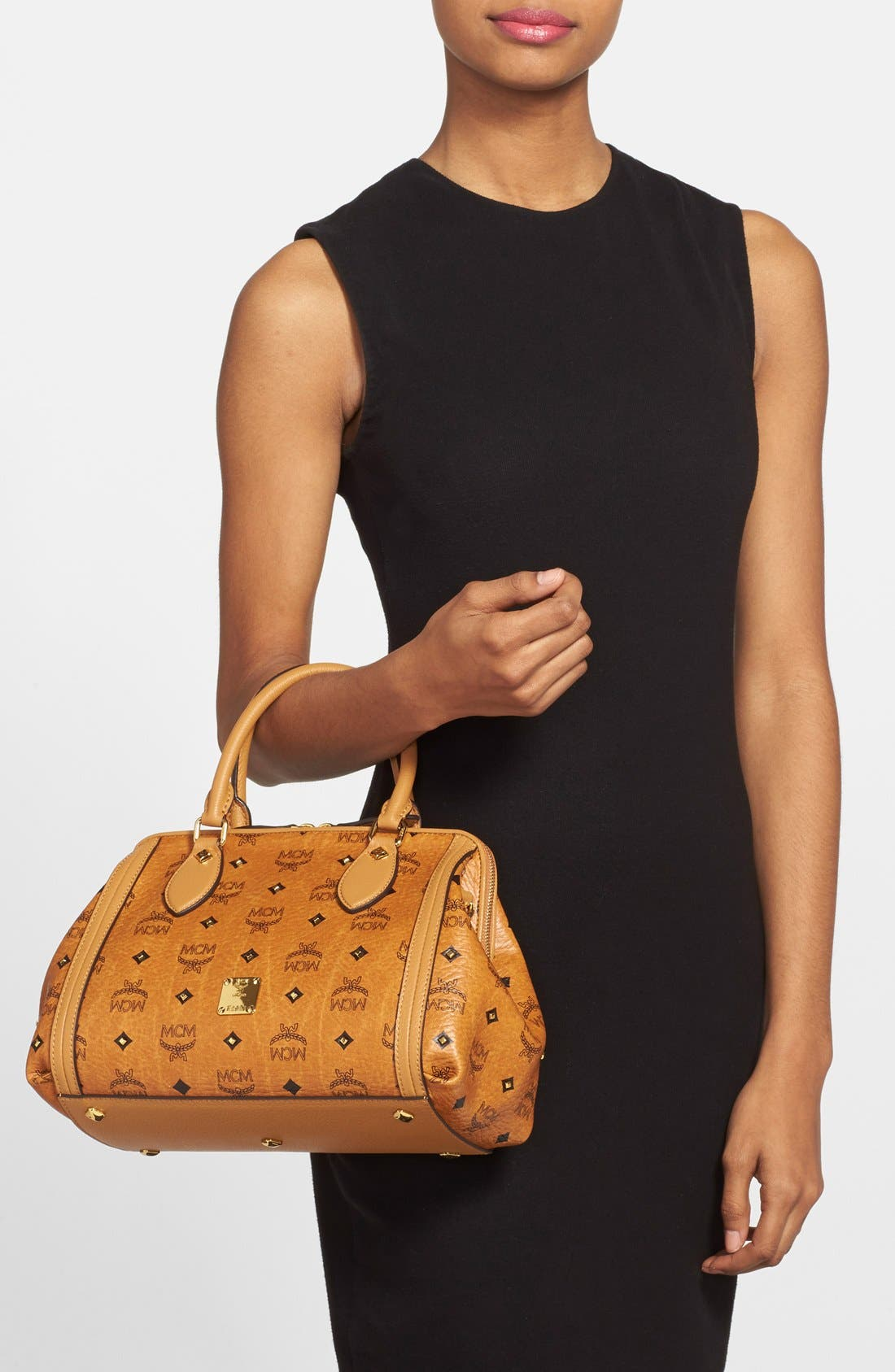'Small Gold Visetos' Studded Doctor Bag,                             Alternate thumbnail 5, color,                             200