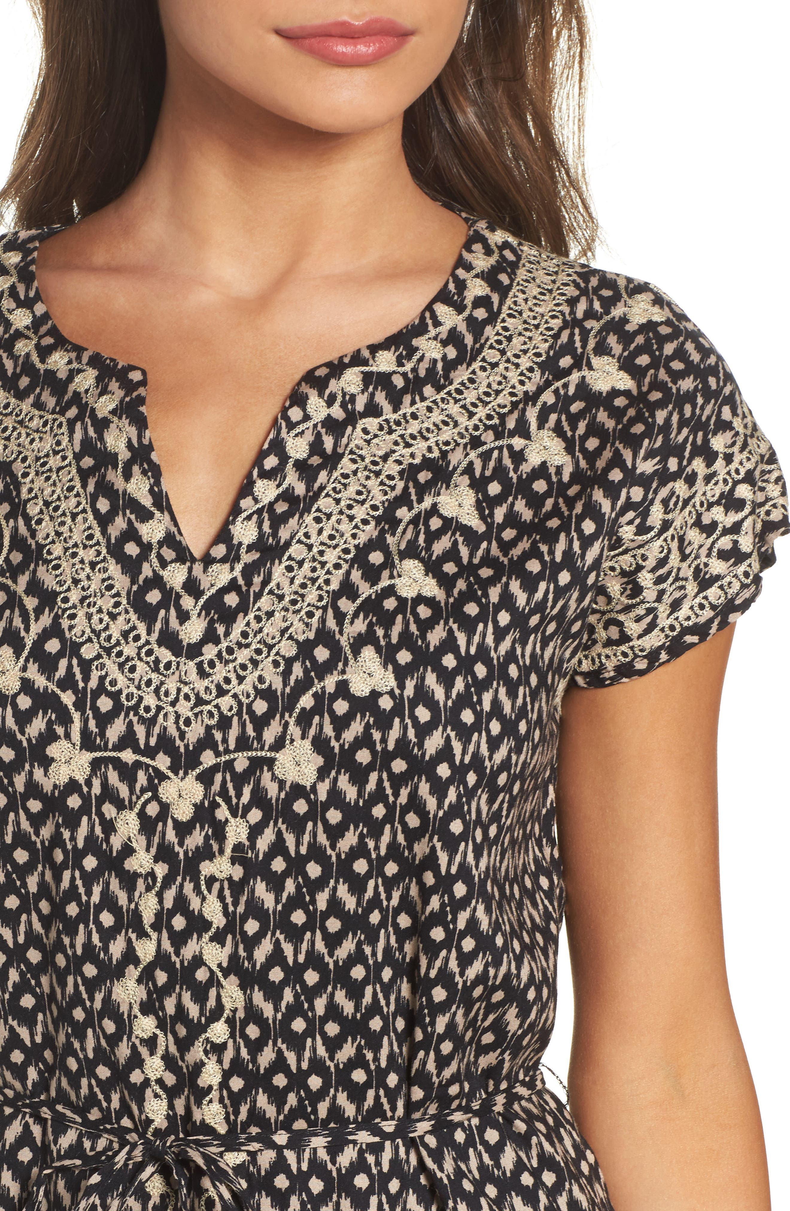 Embroidered Shift Dress,                             Alternate thumbnail 4, color,                             001