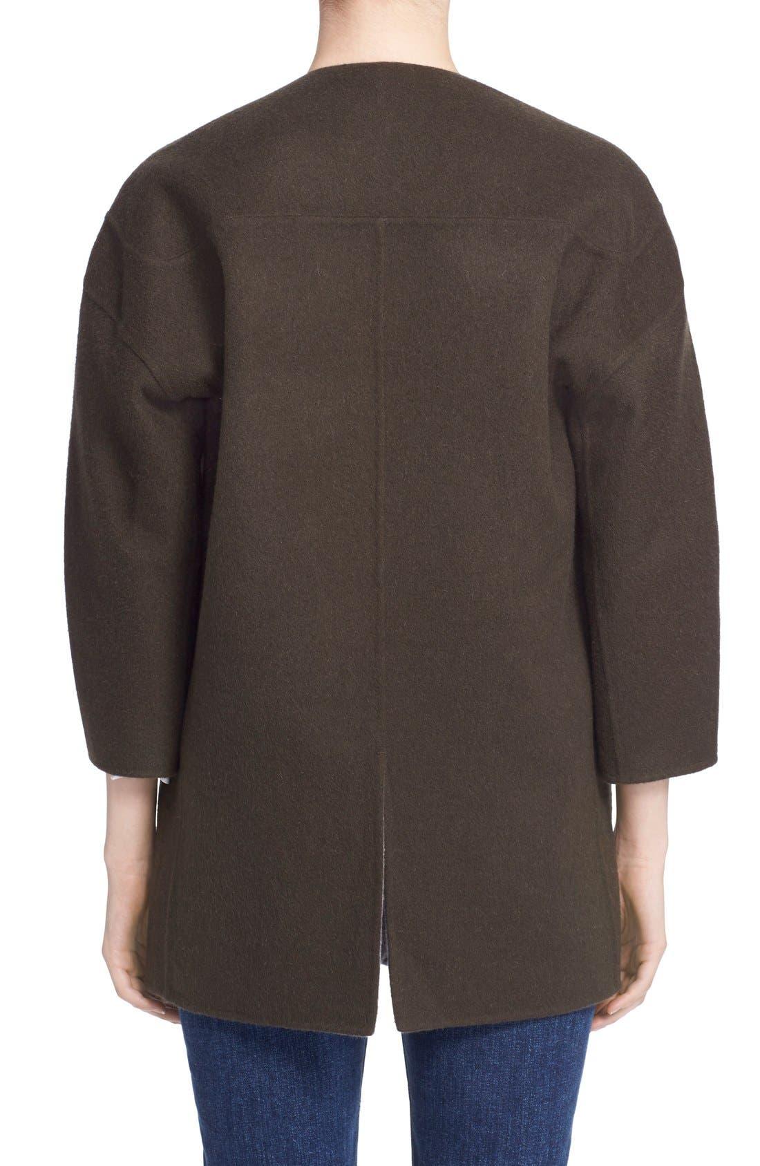 Reversible Wool & Angora Car Coat,                             Alternate thumbnail 3, color,                             020