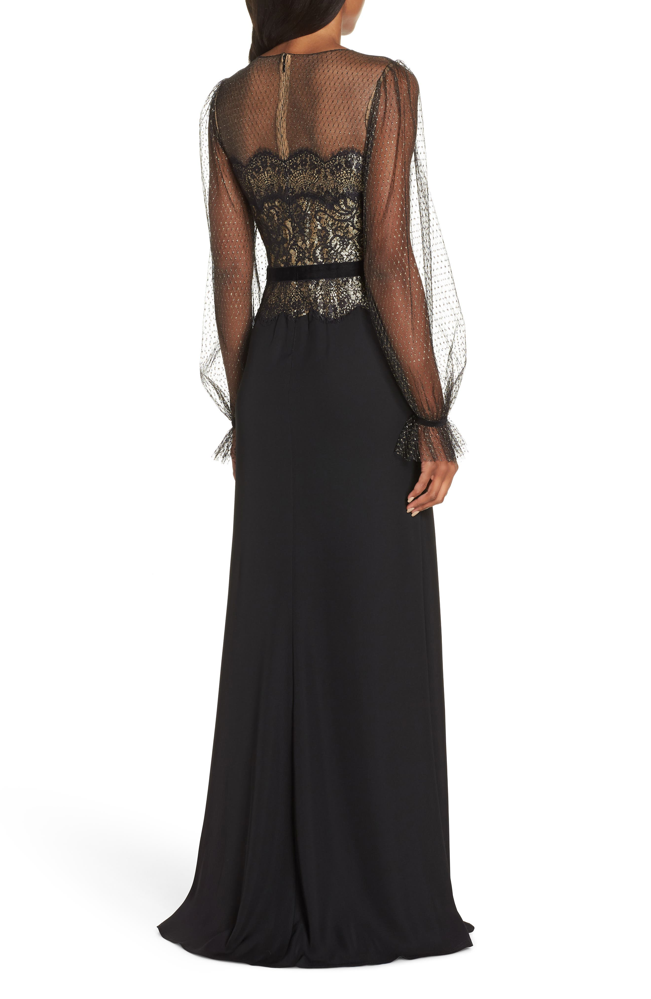 Crepe & Sequin Gown,                             Alternate thumbnail 2, color,                             BLACK/ GOLD