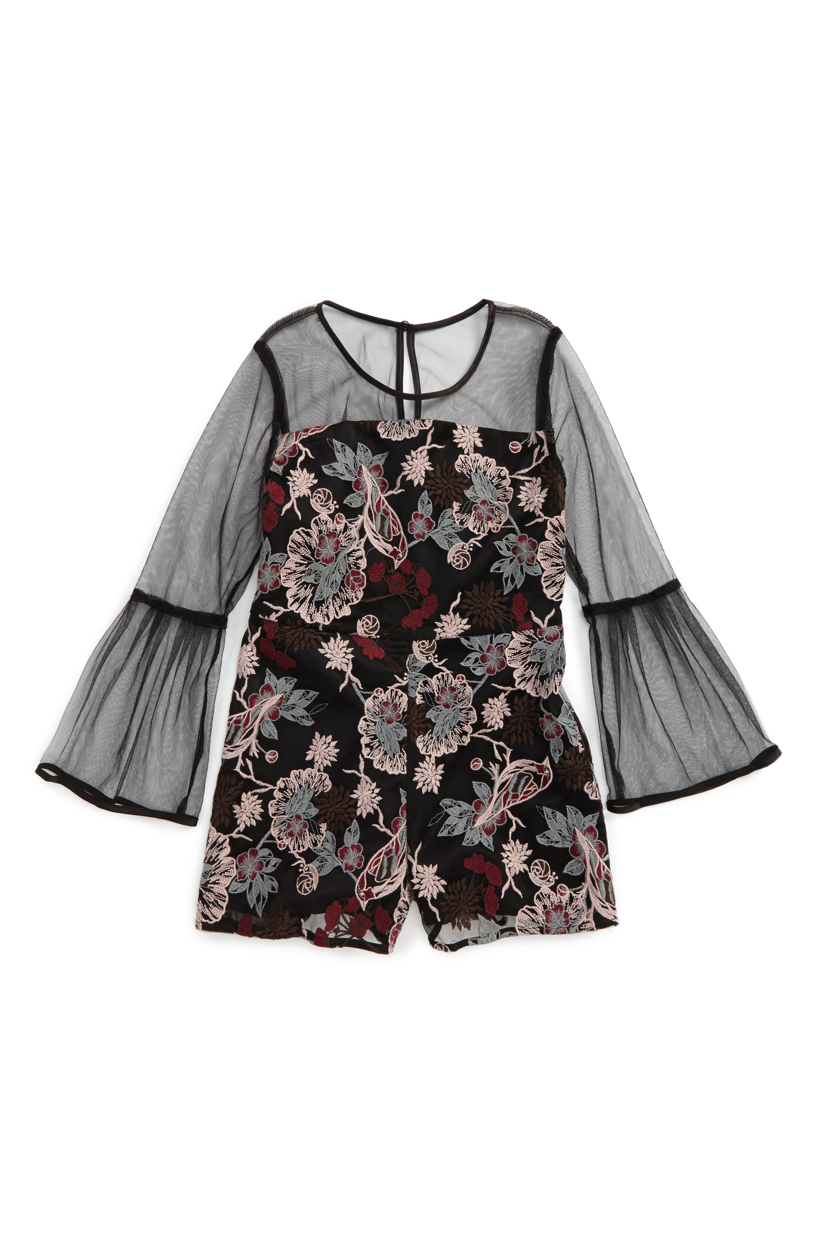 Embroidered Romper,                             Main thumbnail 1, color,                             001
