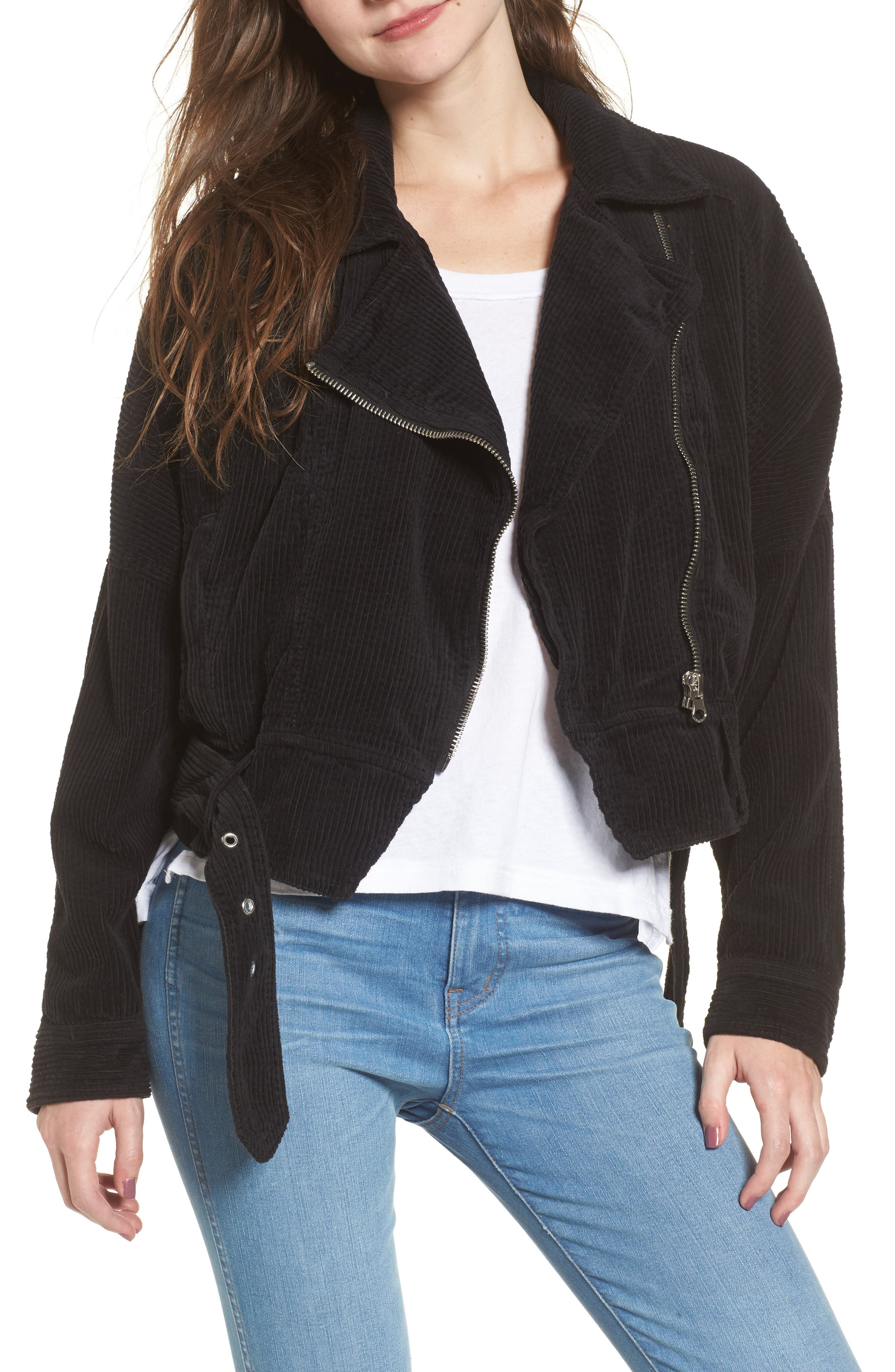 Slouchy Dolman Moto Jacket, Main, color, 001