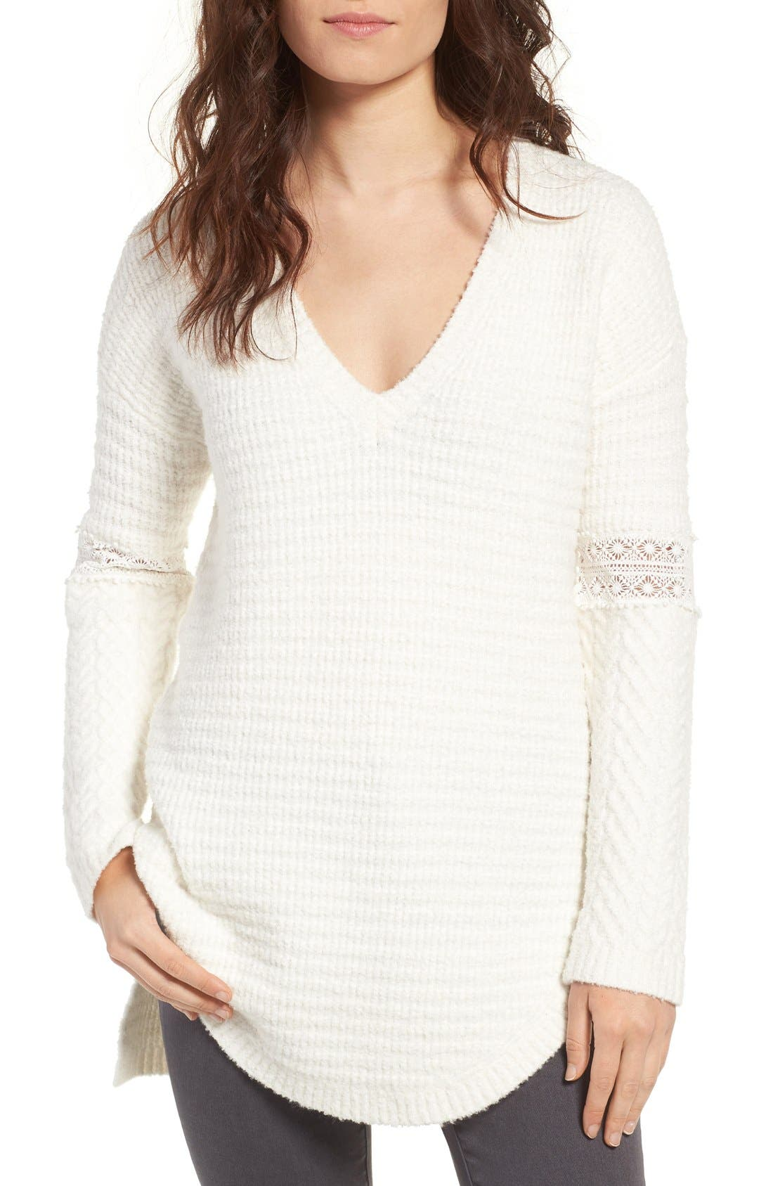 Lace Inset V-Neck Sweater,                             Main thumbnail 3, color,