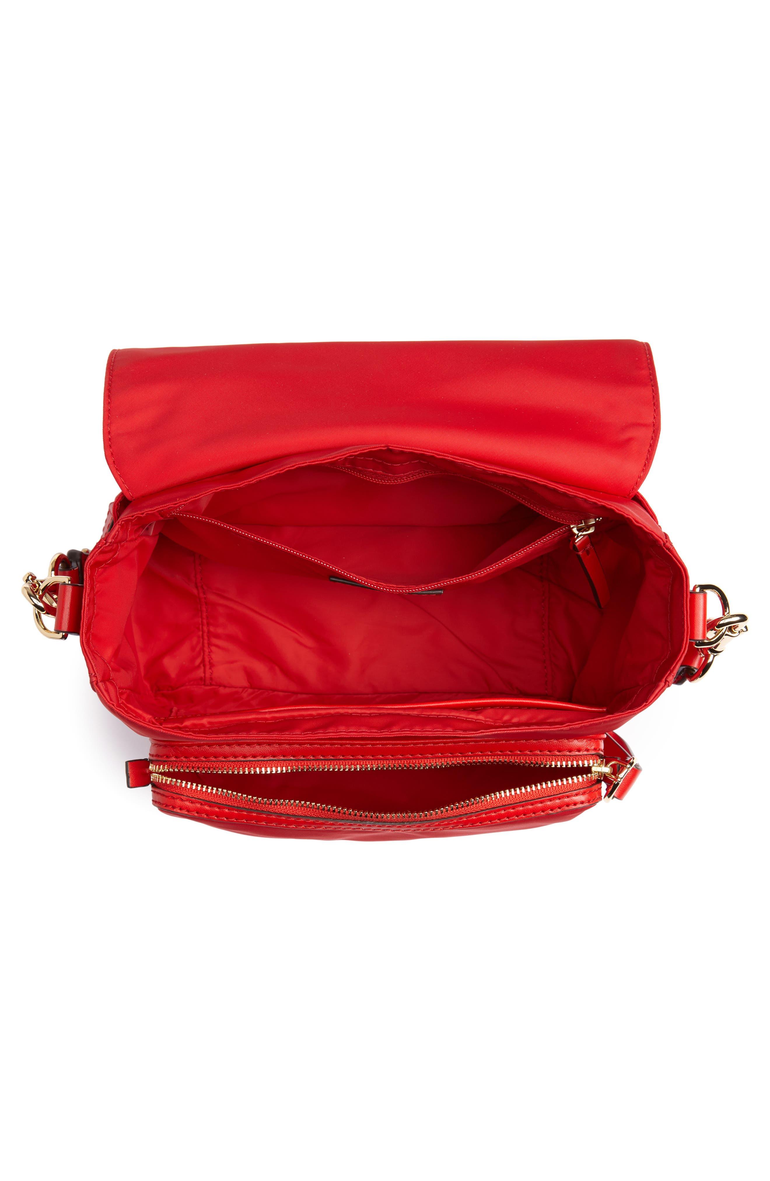 Tilda Nylon Crossbody Bag,                             Alternate thumbnail 5, color,                             BRILLIANT RED