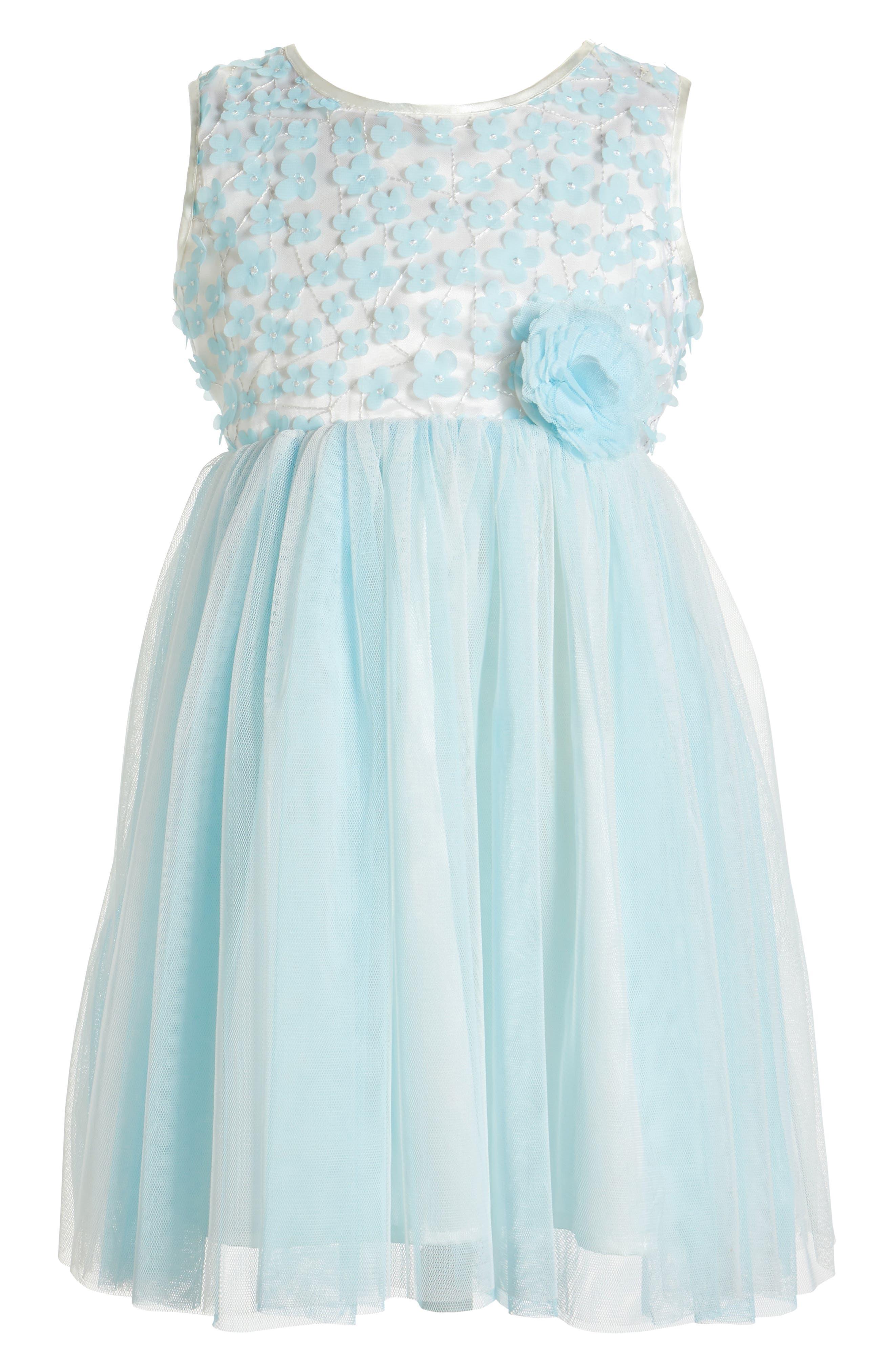 Sleeveless Floral Dress,                         Main,                         color, BLUE