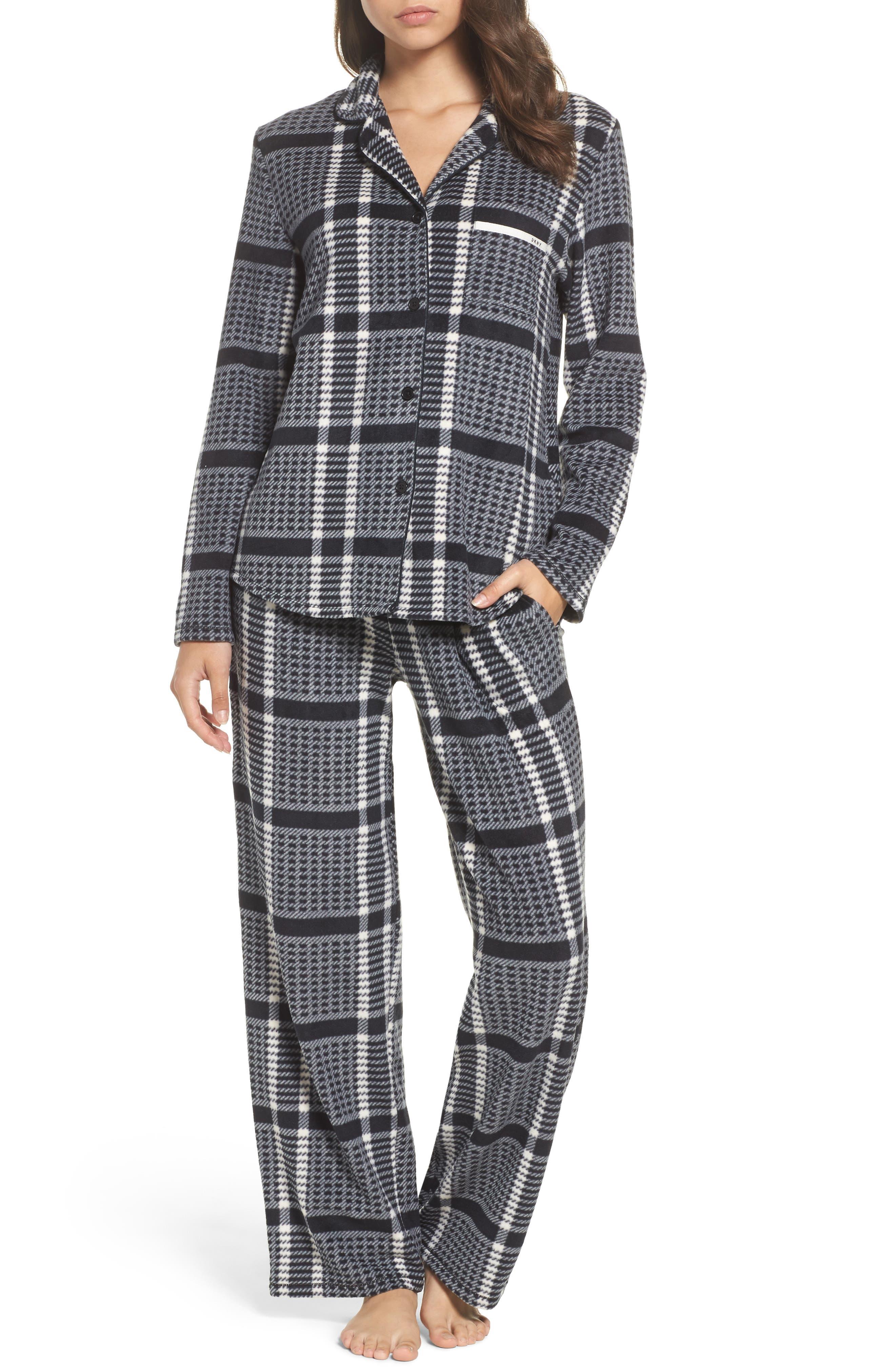 Stretch Fleece Long Pajamas,                             Main thumbnail 1, color,                             005