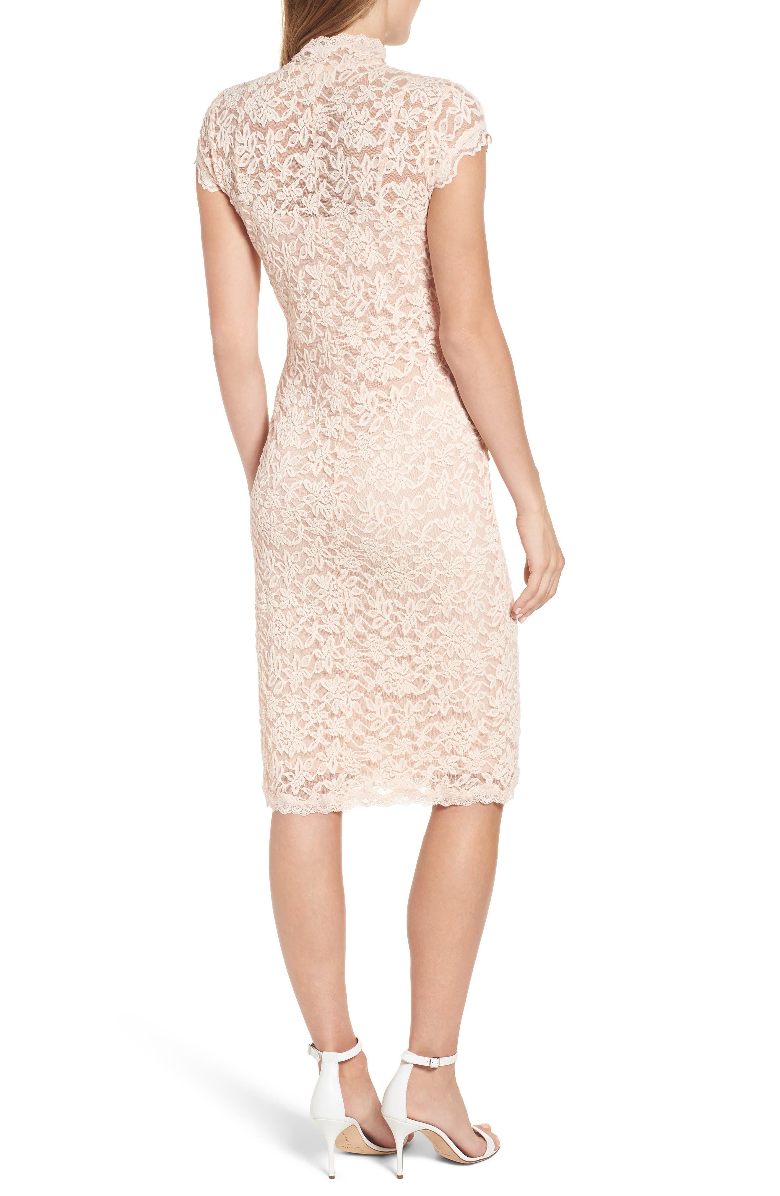 Delicia Lace Body-Con Dress,                             Alternate thumbnail 2, color,                             PALE DOGWOOD