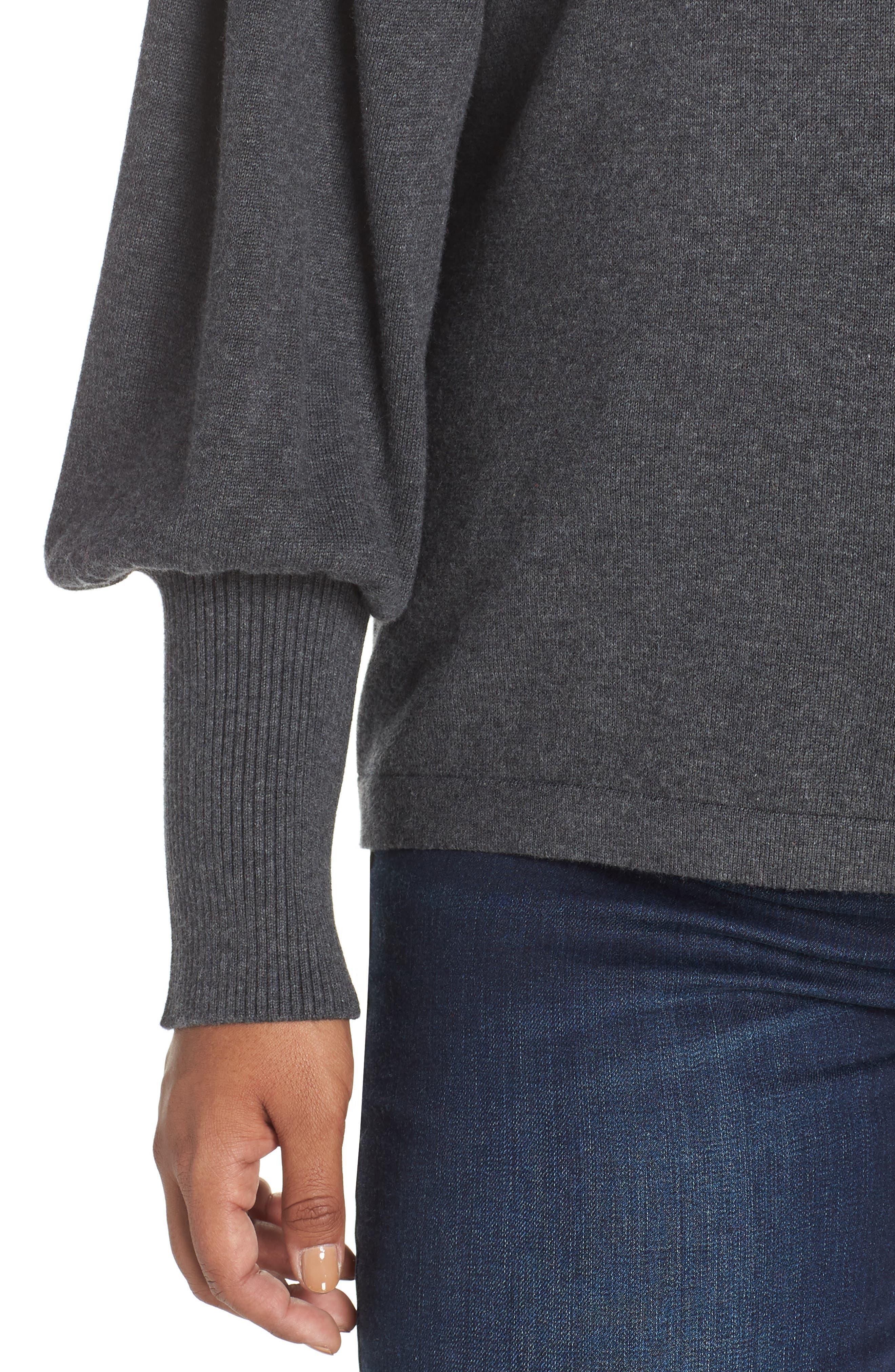 Blouson Sleeve Sweater,                             Alternate thumbnail 6, color,                             MED HEATHER GREY