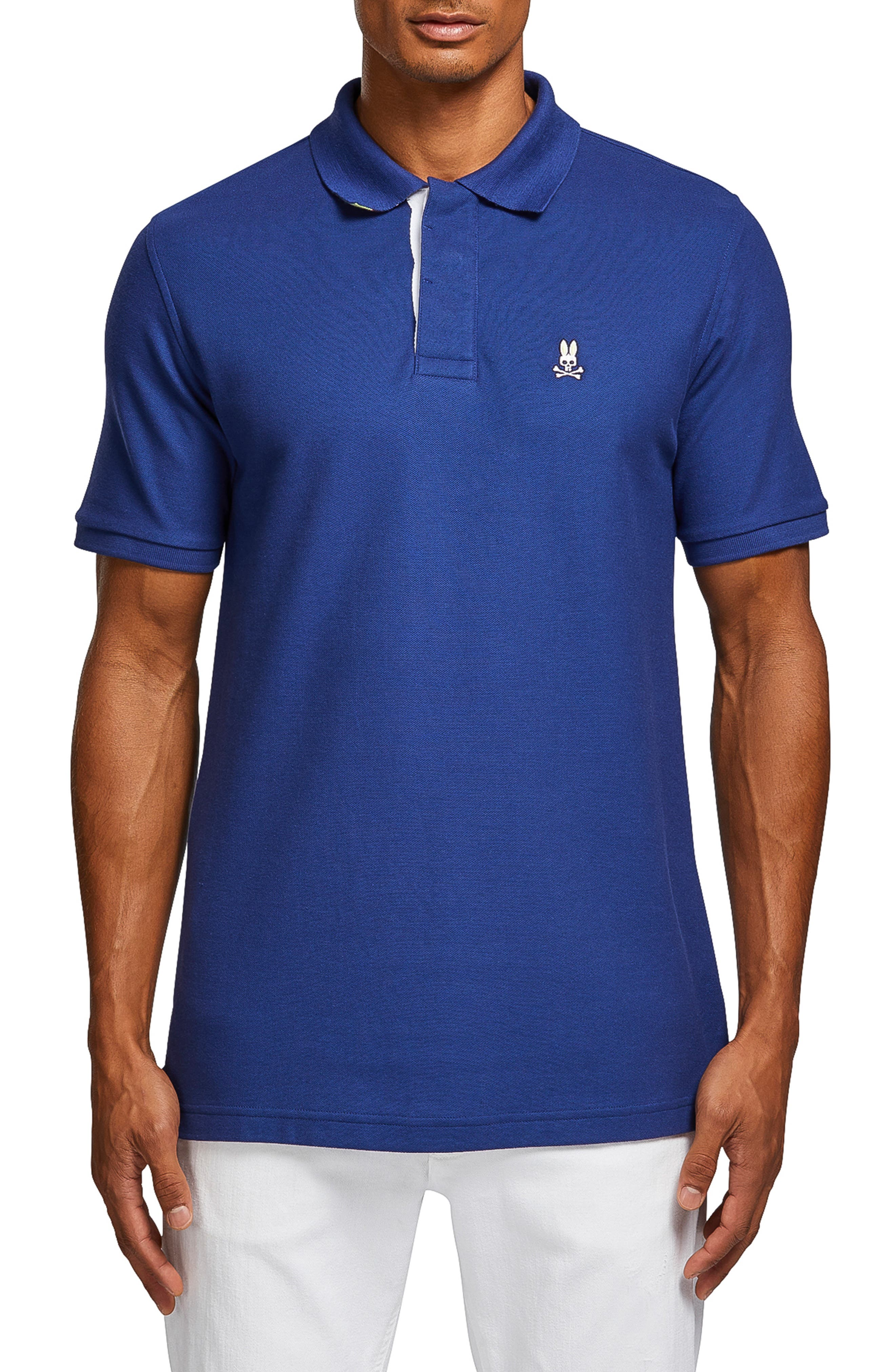 PSYCHO BUNNY Porthill Polo Shirt in Blue Print