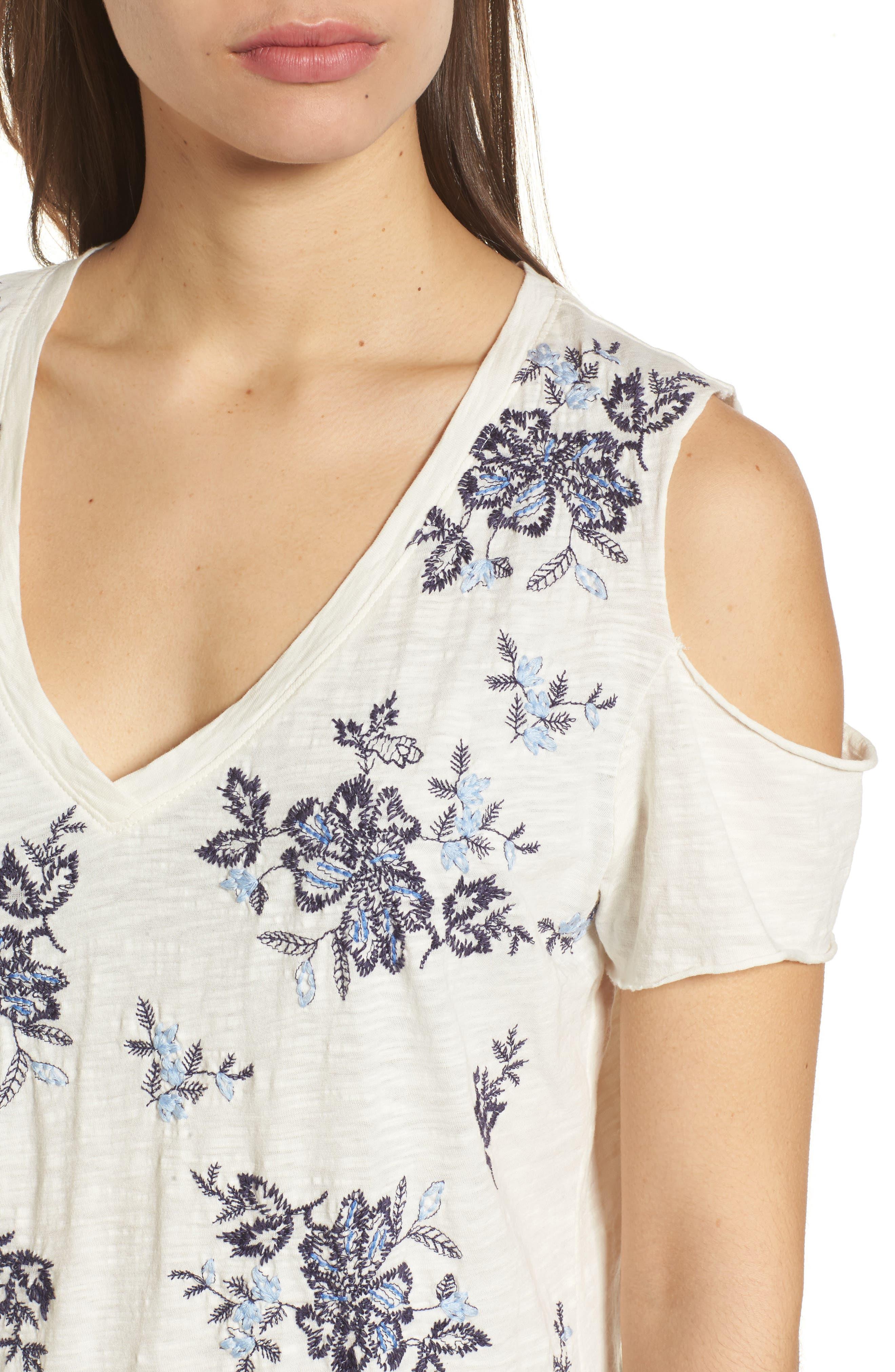 Floral Embroidered Cold Shoulder Top,                             Alternate thumbnail 4, color,                             460