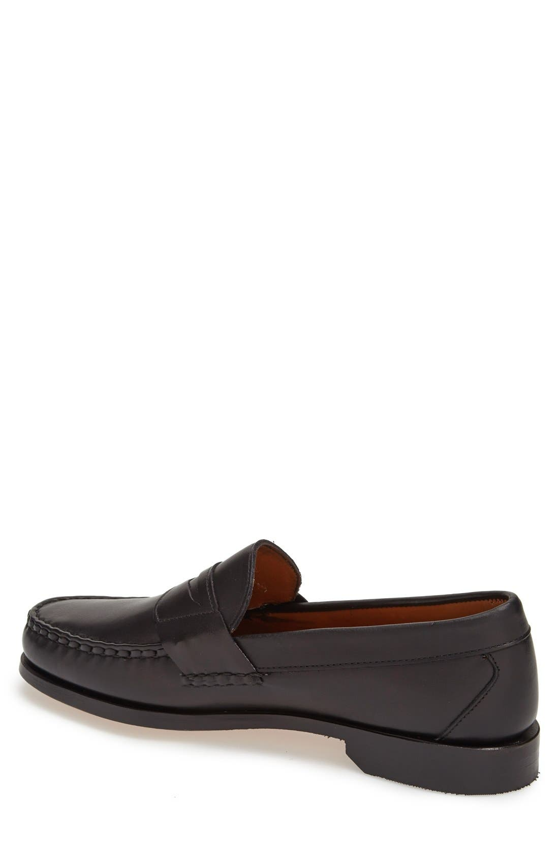 'Cavanaugh' Penny Loafer,                             Alternate thumbnail 3, color,                             BLACK LEATHER