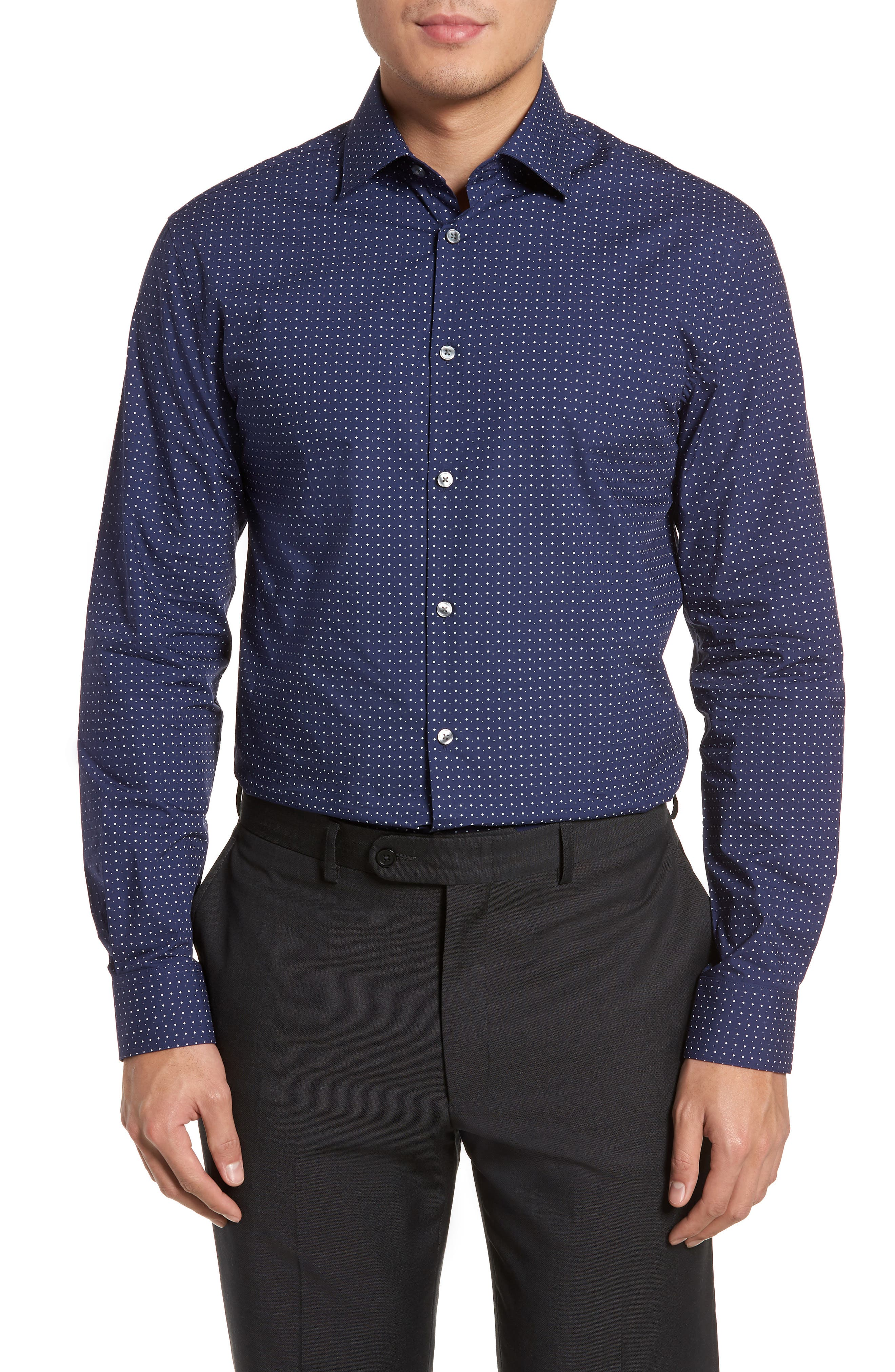 Slim Fit Diamond Dress Shirt,                             Main thumbnail 1, color,                             478