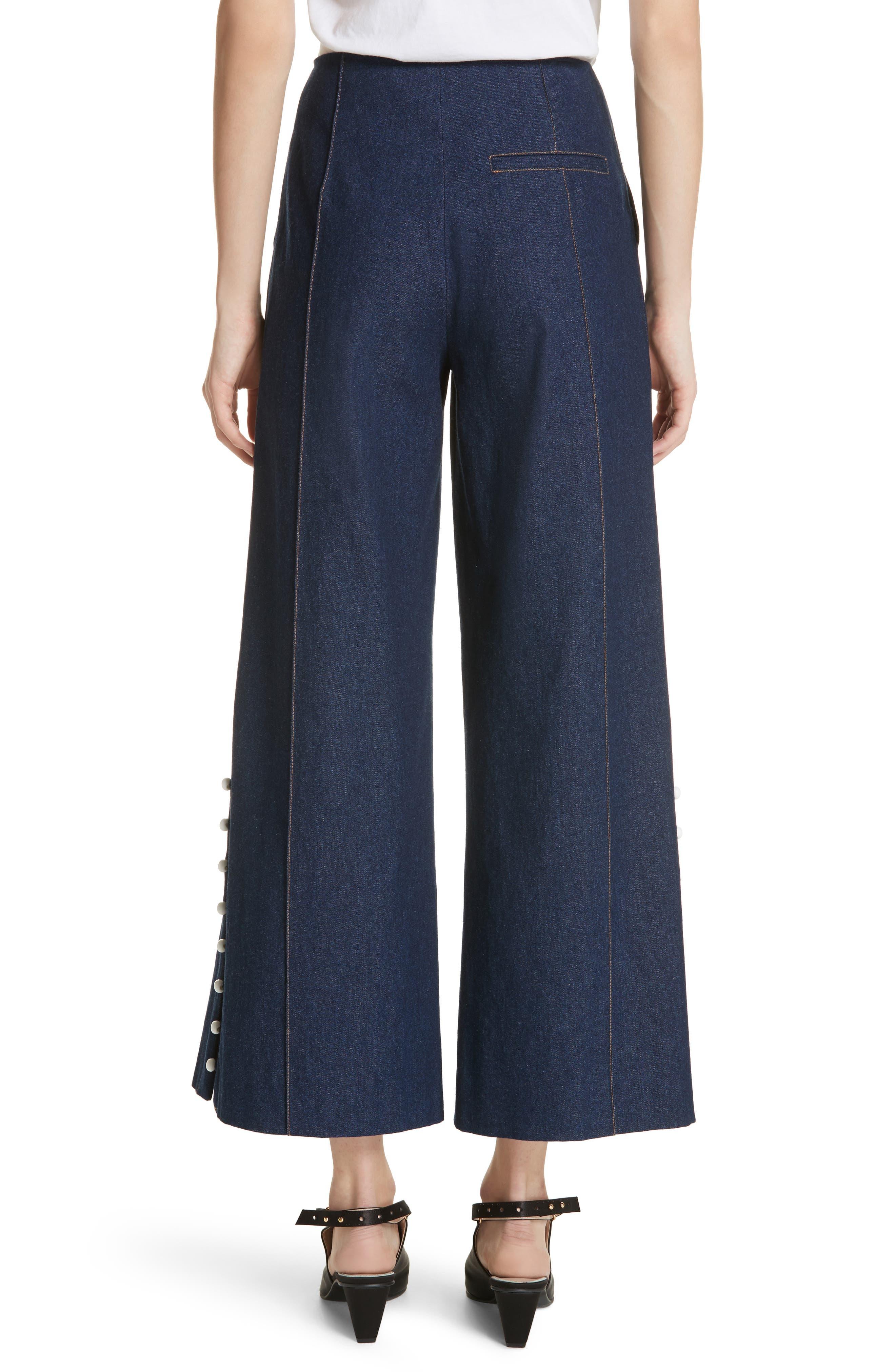 Dune Imitation Pearl Trim Wide Leg Crop Jeans,                             Alternate thumbnail 2, color,                             400