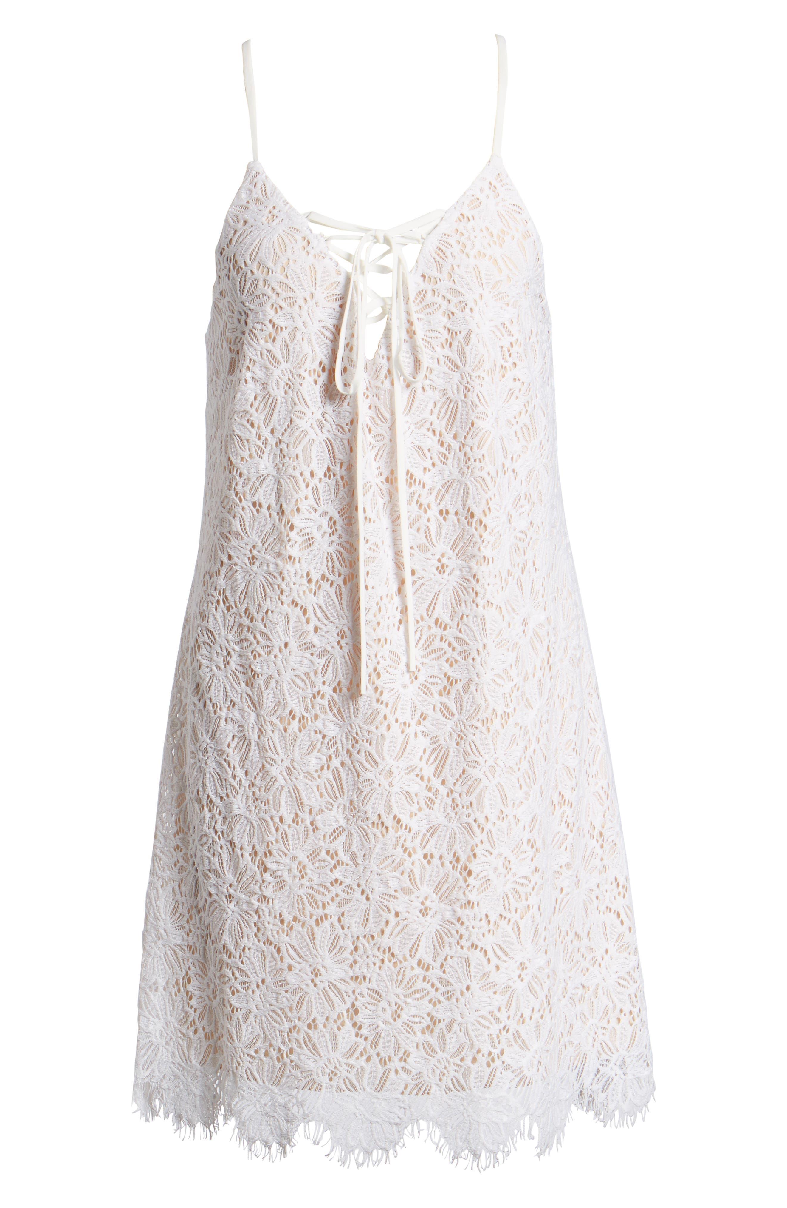 Lace-Up Lace Minidress,                             Alternate thumbnail 6, color,                             900