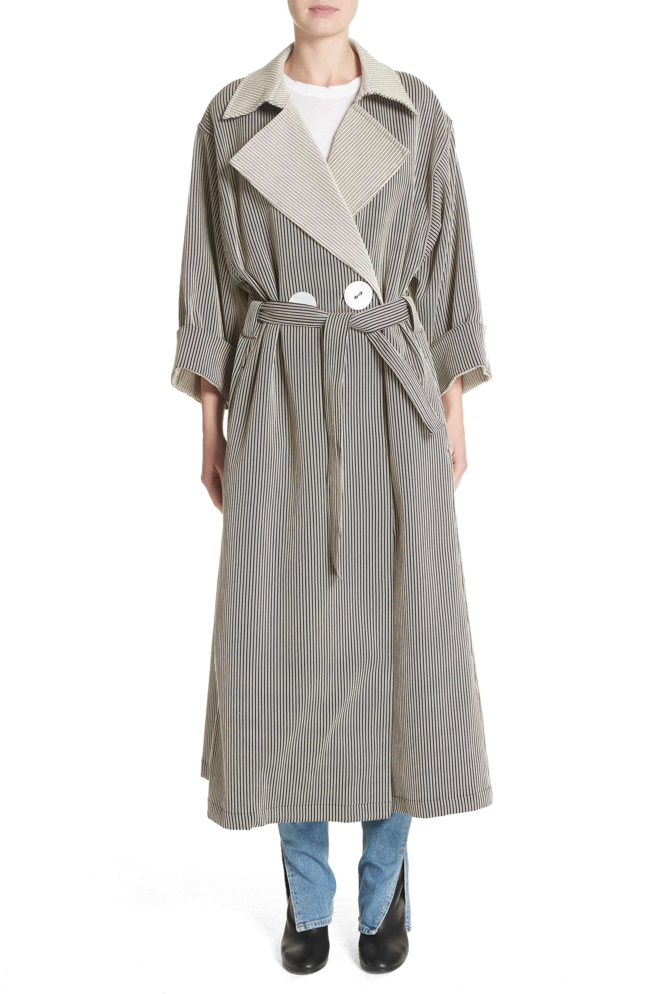 Casco Stretch Pinstripe Trench Coat,                             Main thumbnail 1, color,
