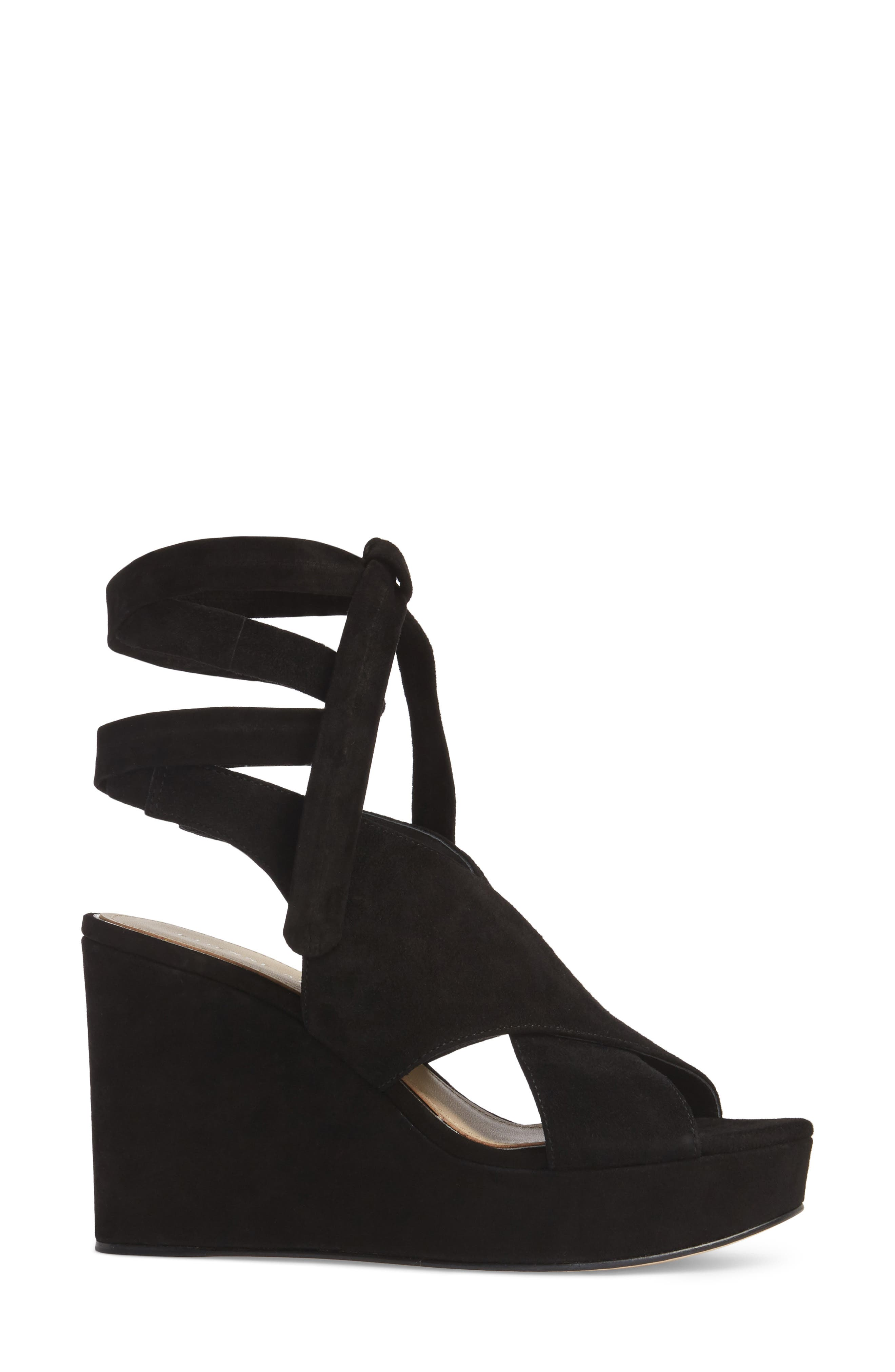 Dominica Platform Wedge Sandal,                             Alternate thumbnail 3, color,                             BLACK SUEDE