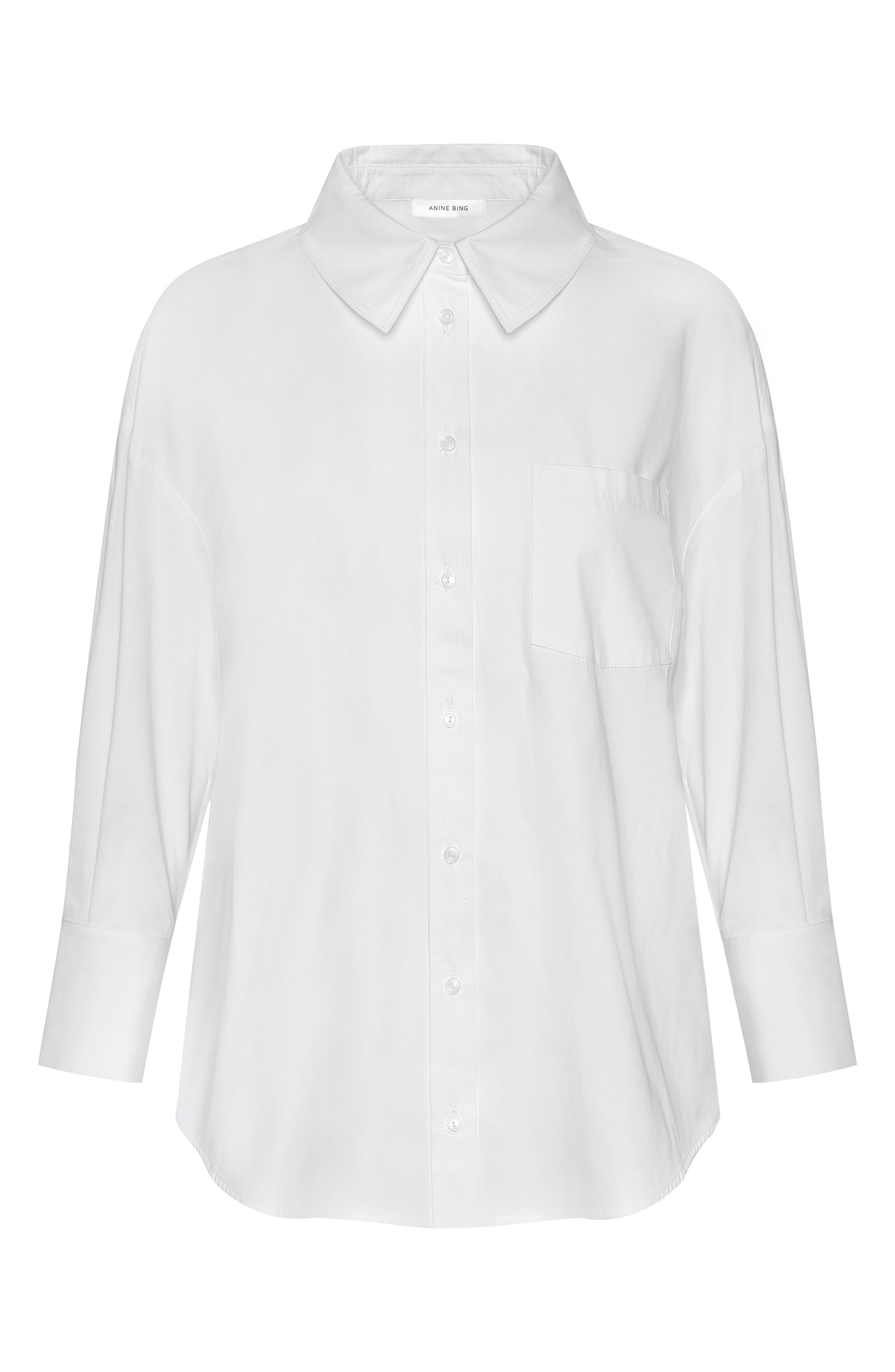 ANINE BING,                             Mika Shirt,                             Alternate thumbnail 5, color,                             100