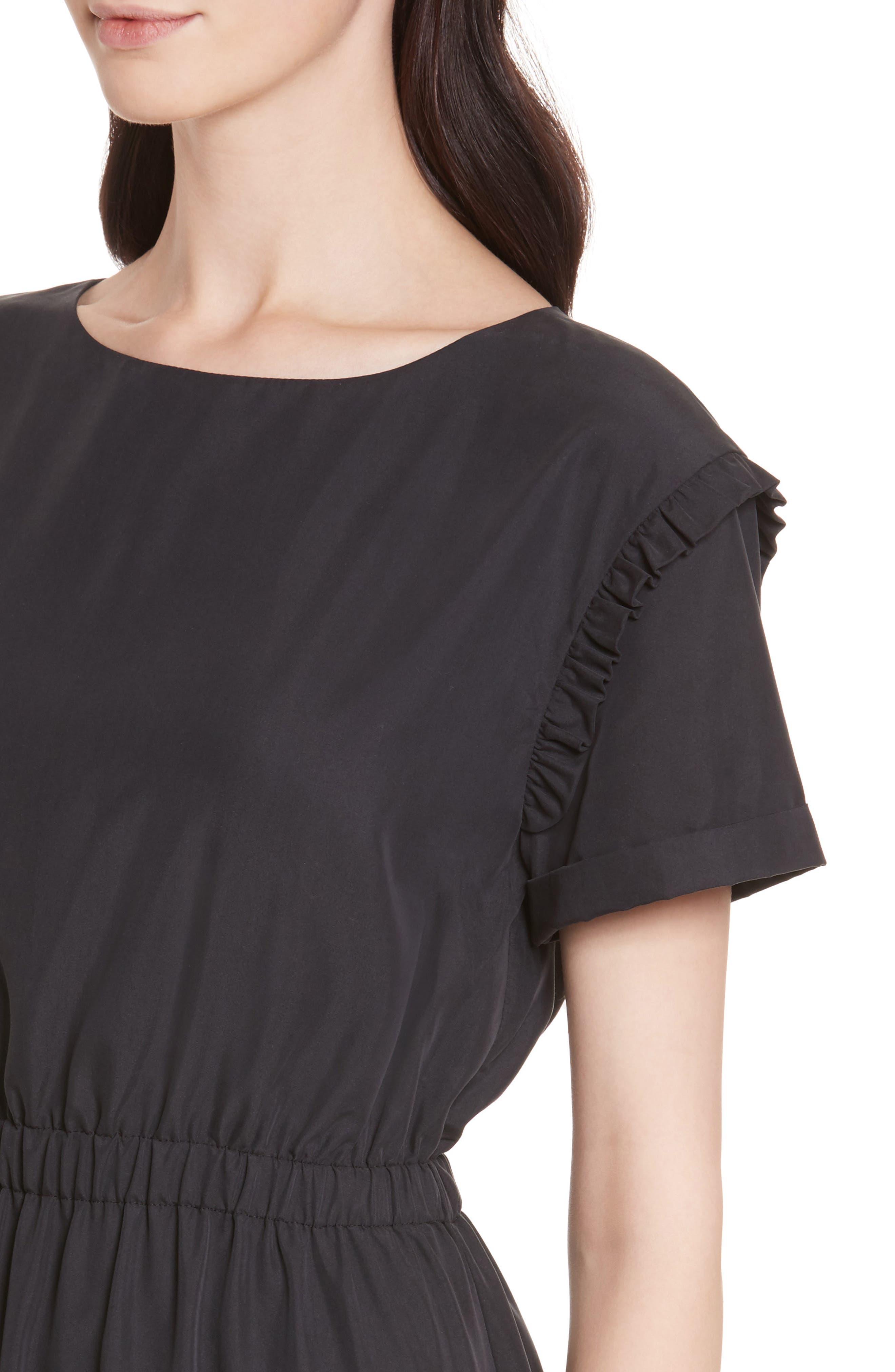 Garner Drop Shoulder Flounce Dress,                             Alternate thumbnail 4, color,                             001