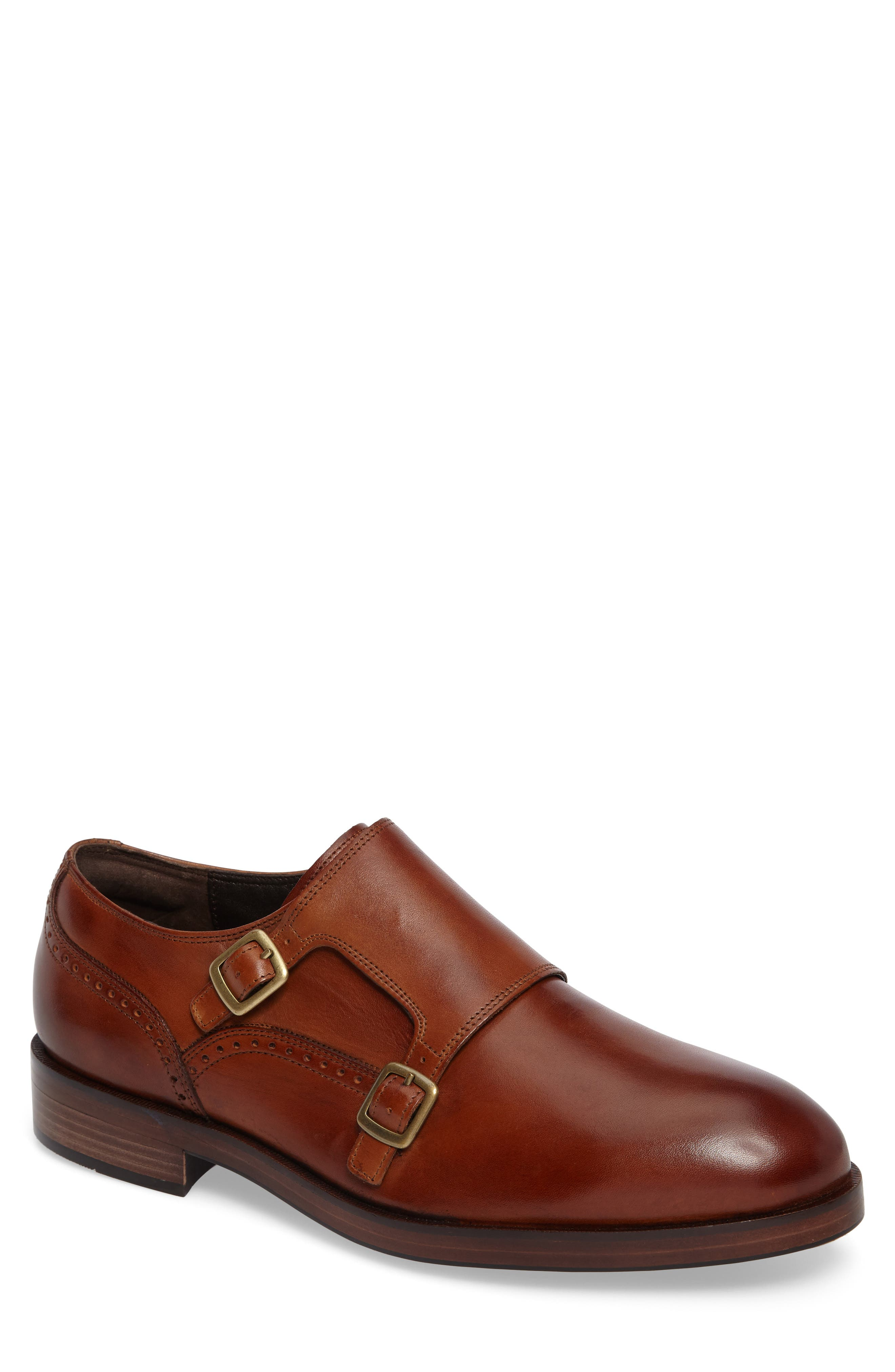 'Harrison' Double Monk Strap Shoe,                             Alternate thumbnail 2, color,                             BRITISH TAN LEATHER