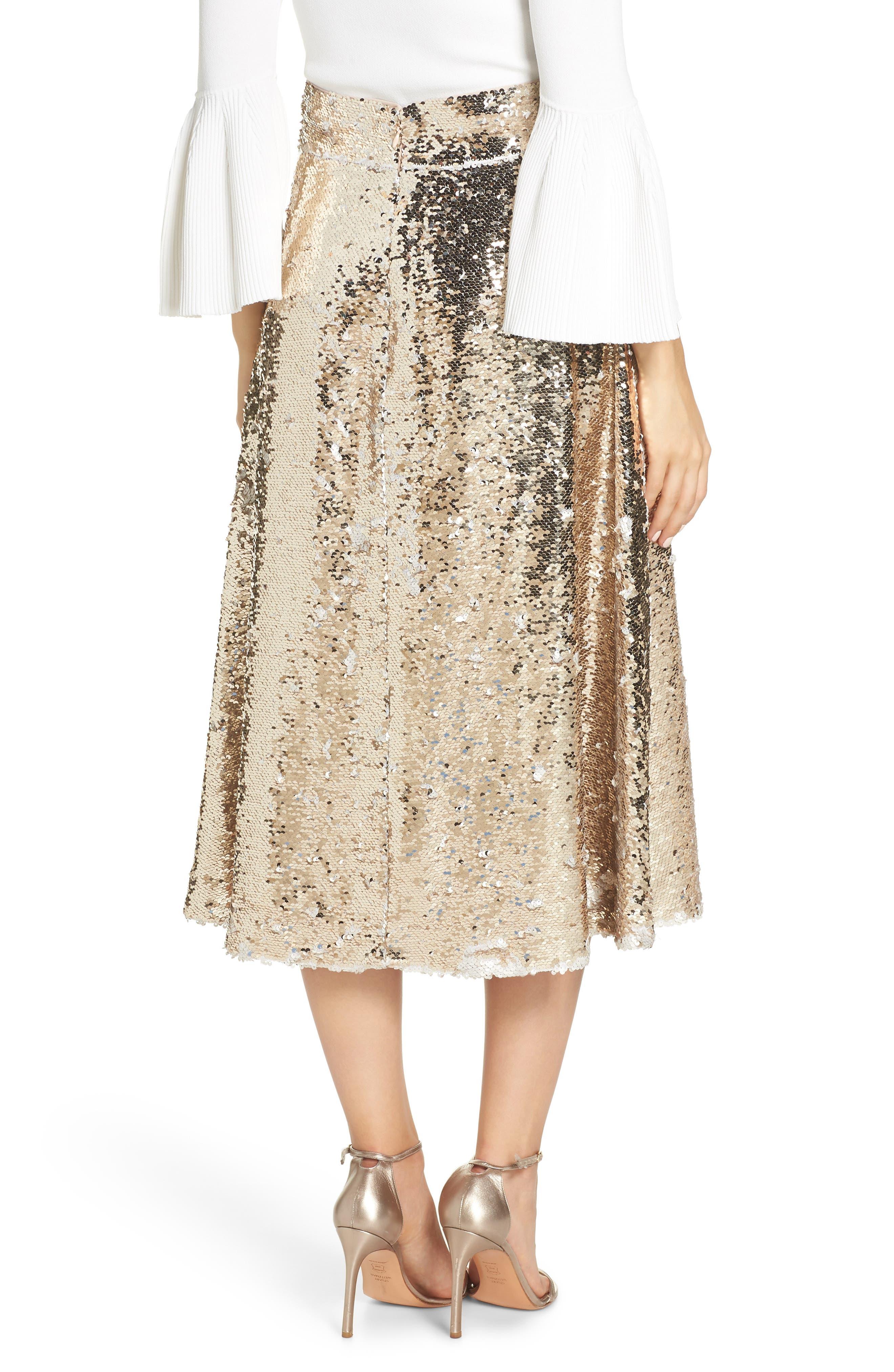 Sequin Embellished A-Line Skirt,                             Alternate thumbnail 2, color,                             GOLD