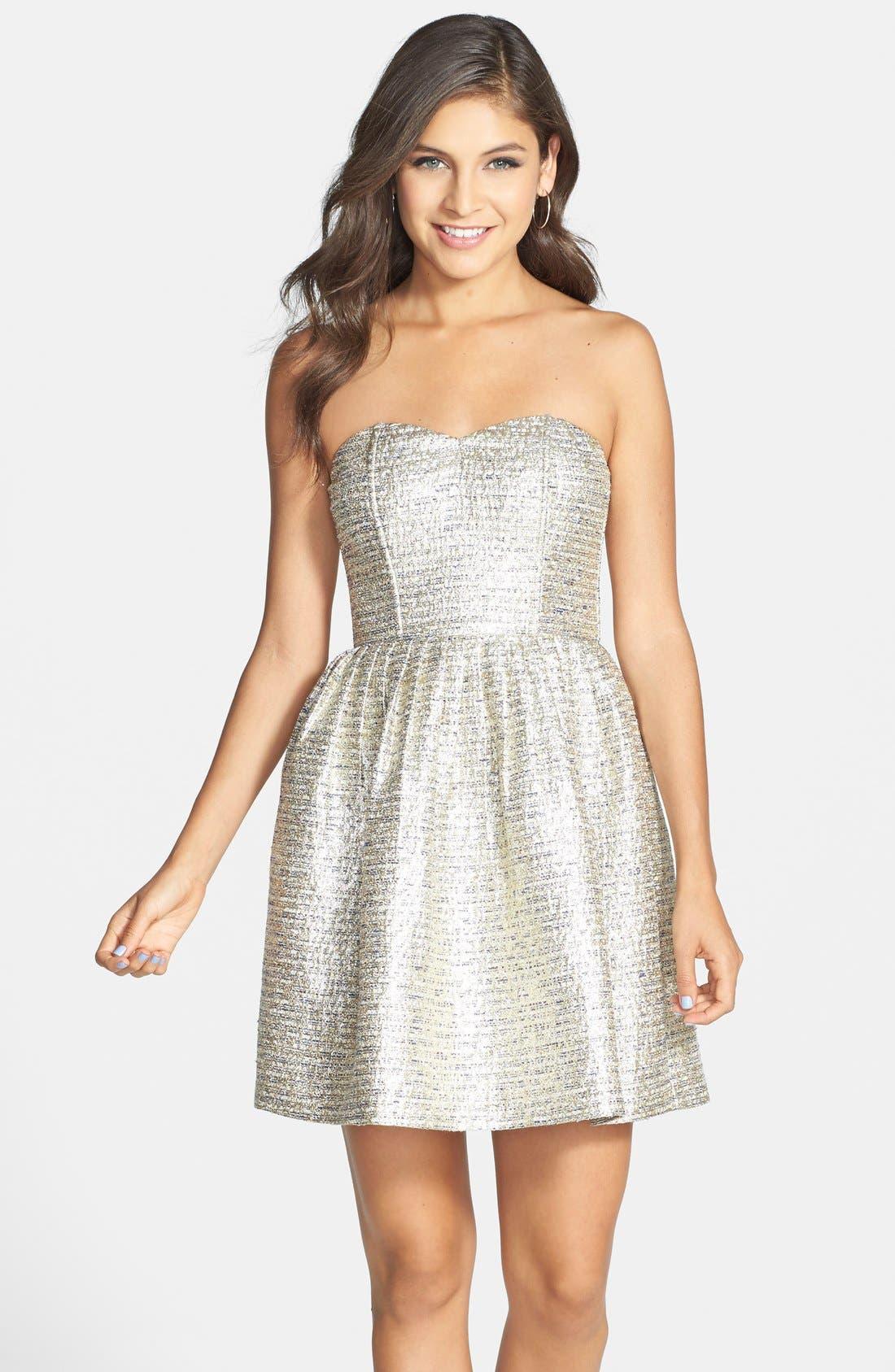 A. DREA Metallic Strapless Skater Dress, Main, color, 710