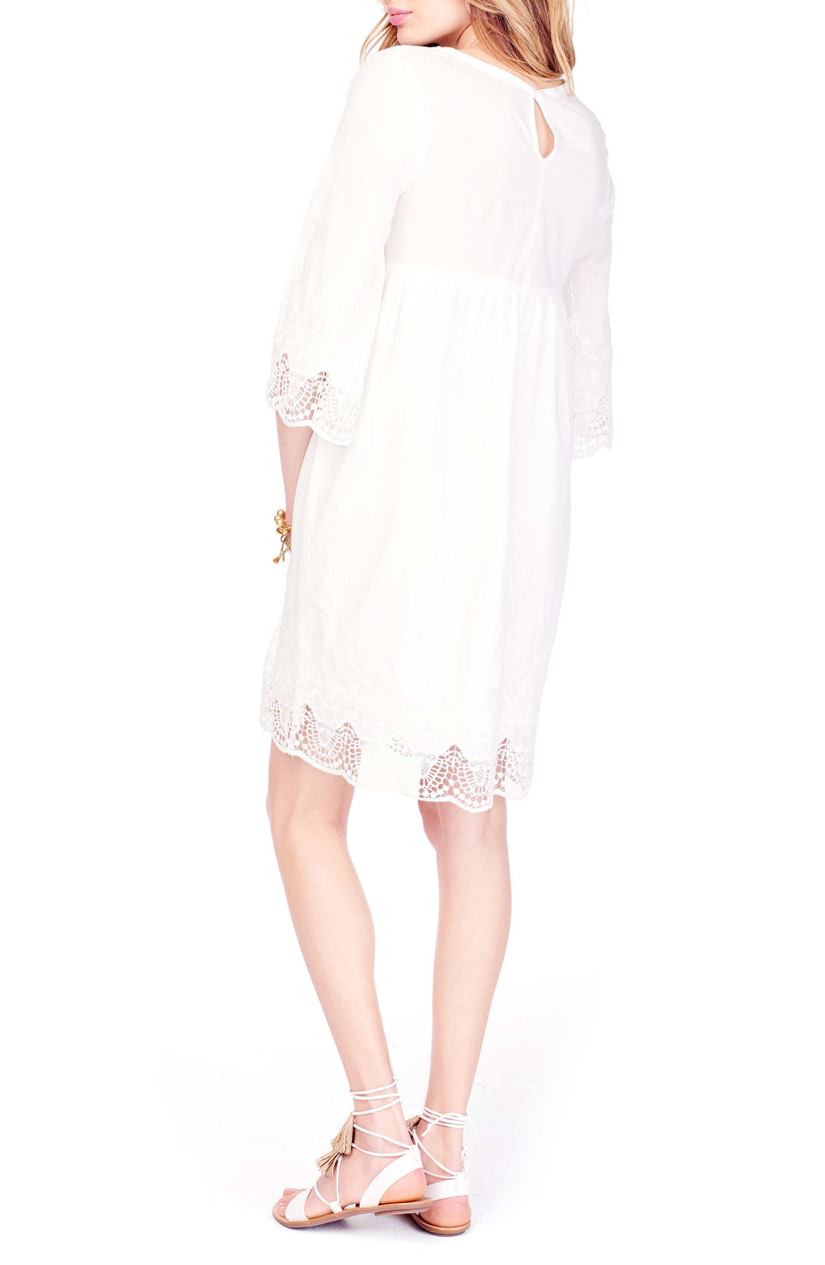 Lace Trim Maternity Dress,                             Alternate thumbnail 4, color,