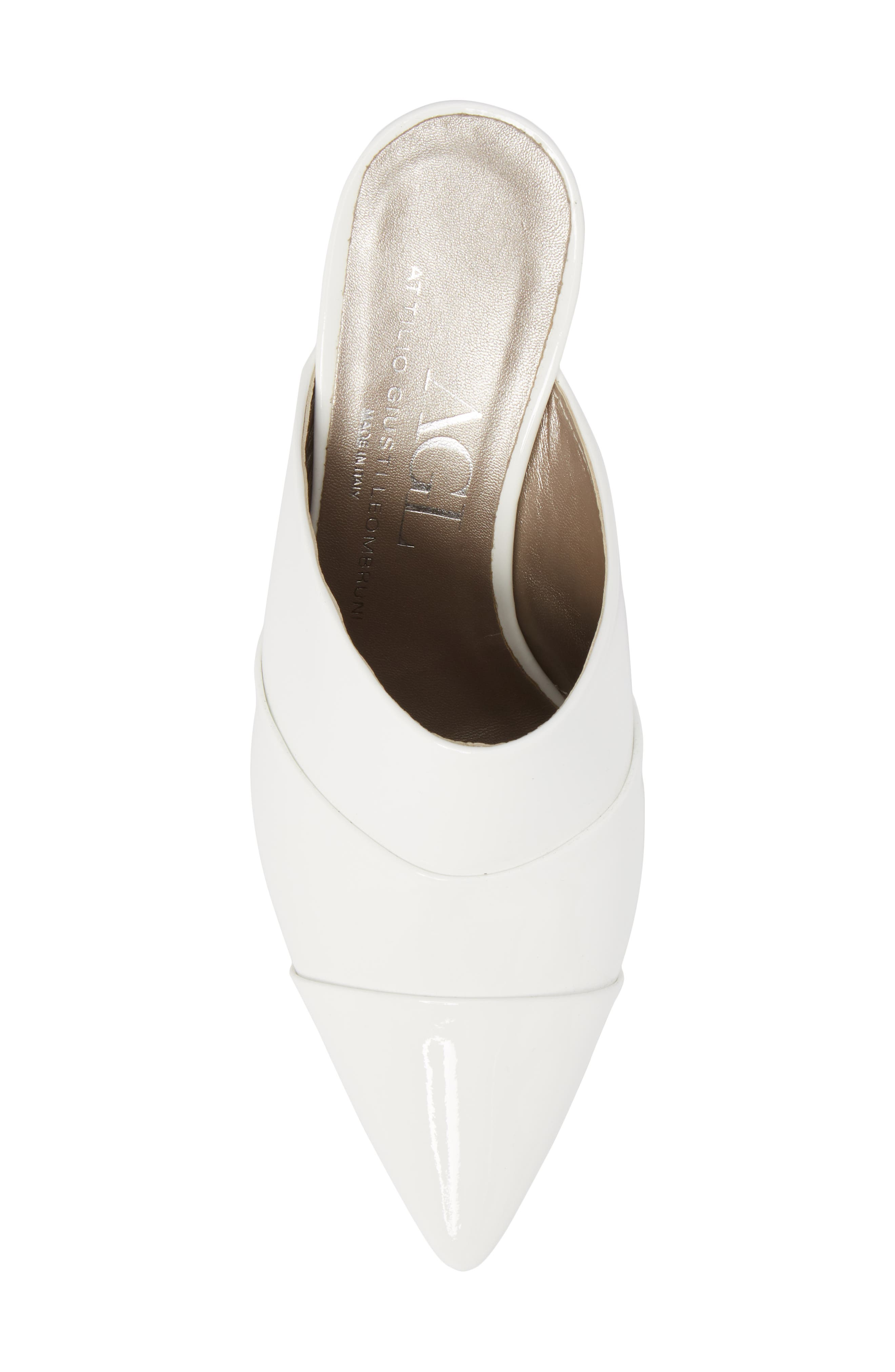 Pointy Toe Mule,                             Alternate thumbnail 5, color,                             WHITE PATENT
