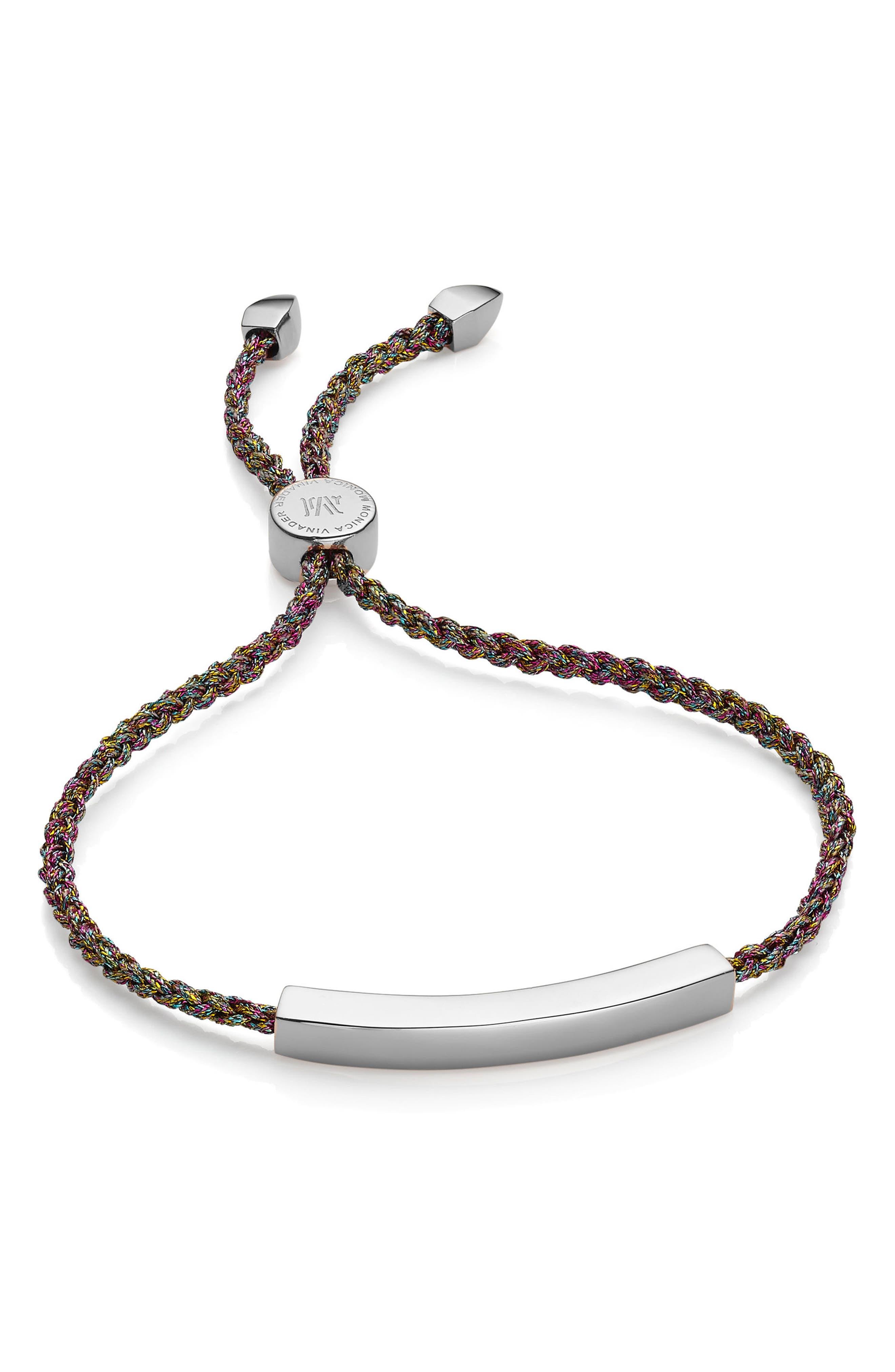Engravable Linear Friendship Bracelet,                         Main,                         color, SILVER/ RAINBOW