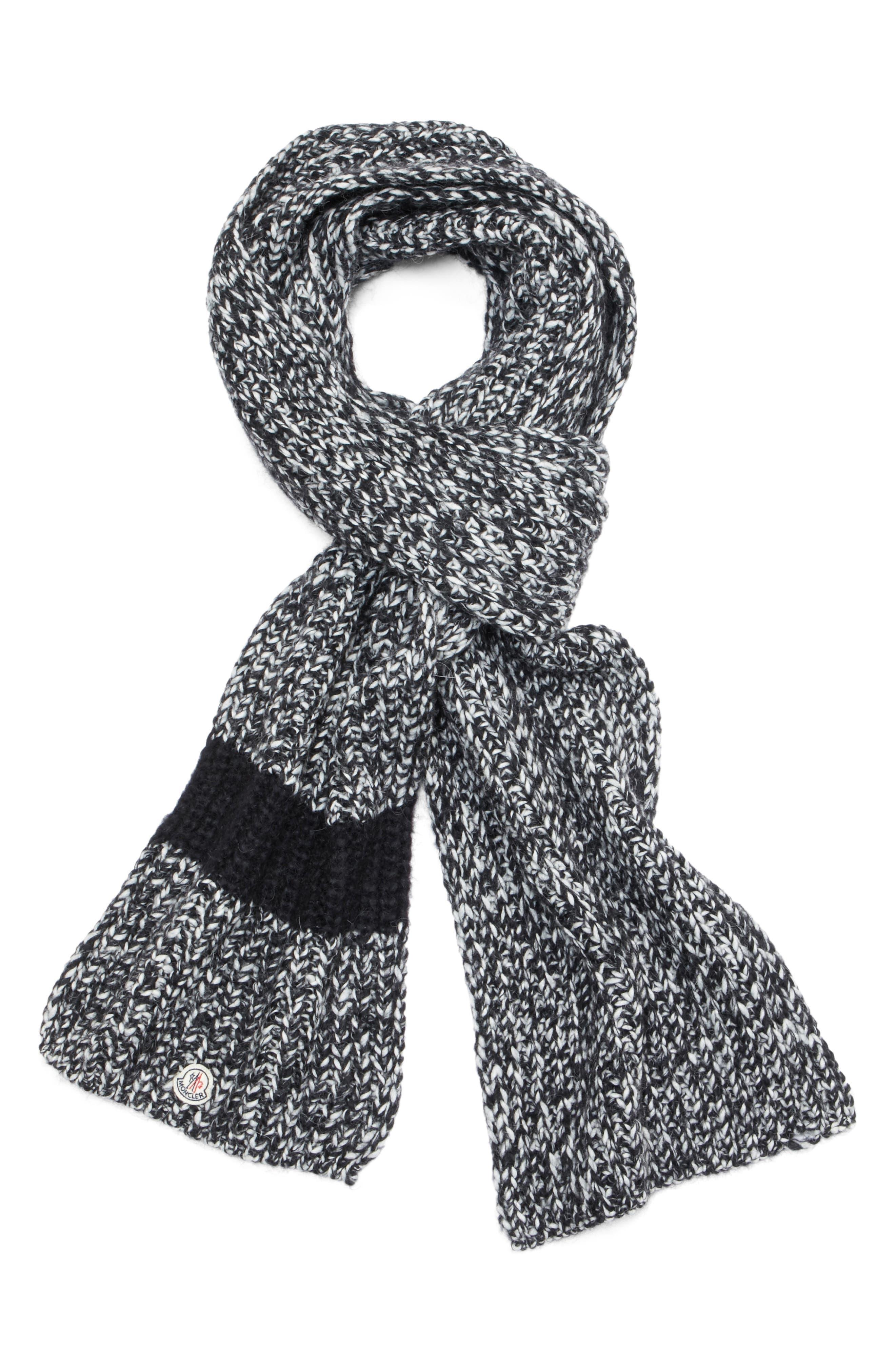 Wide Mélange Knit Scarf,                             Alternate thumbnail 3, color,                             BLACK