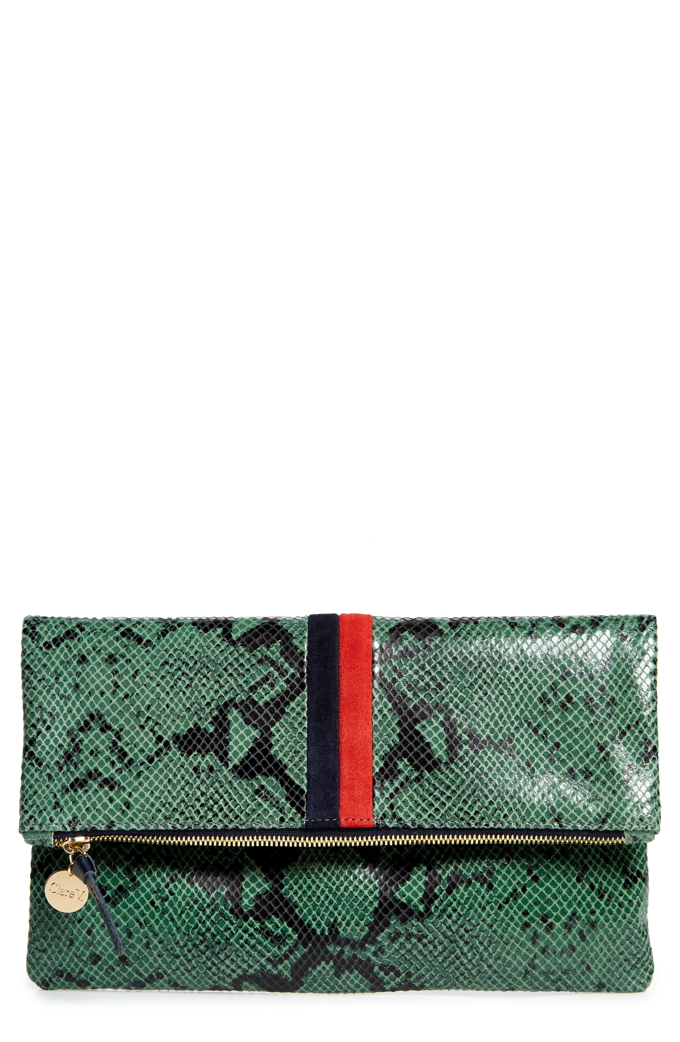 CLARE V Snake Embossed Leather Foldover Clutch - Green in Green Snake Stripe