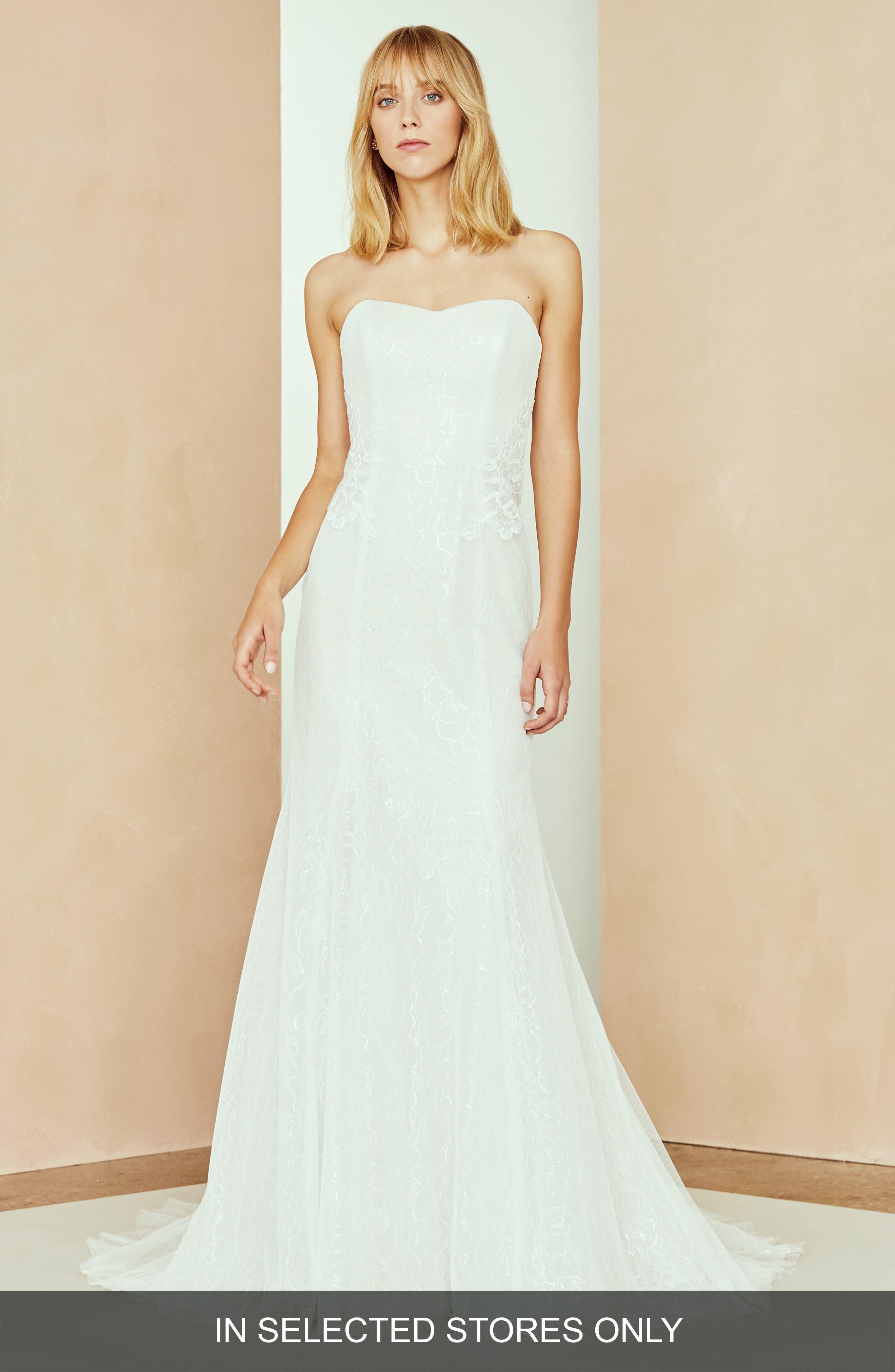 Nouvelle Amsale Noland Strapless Lace Trumpet Gown, Size - Ivory