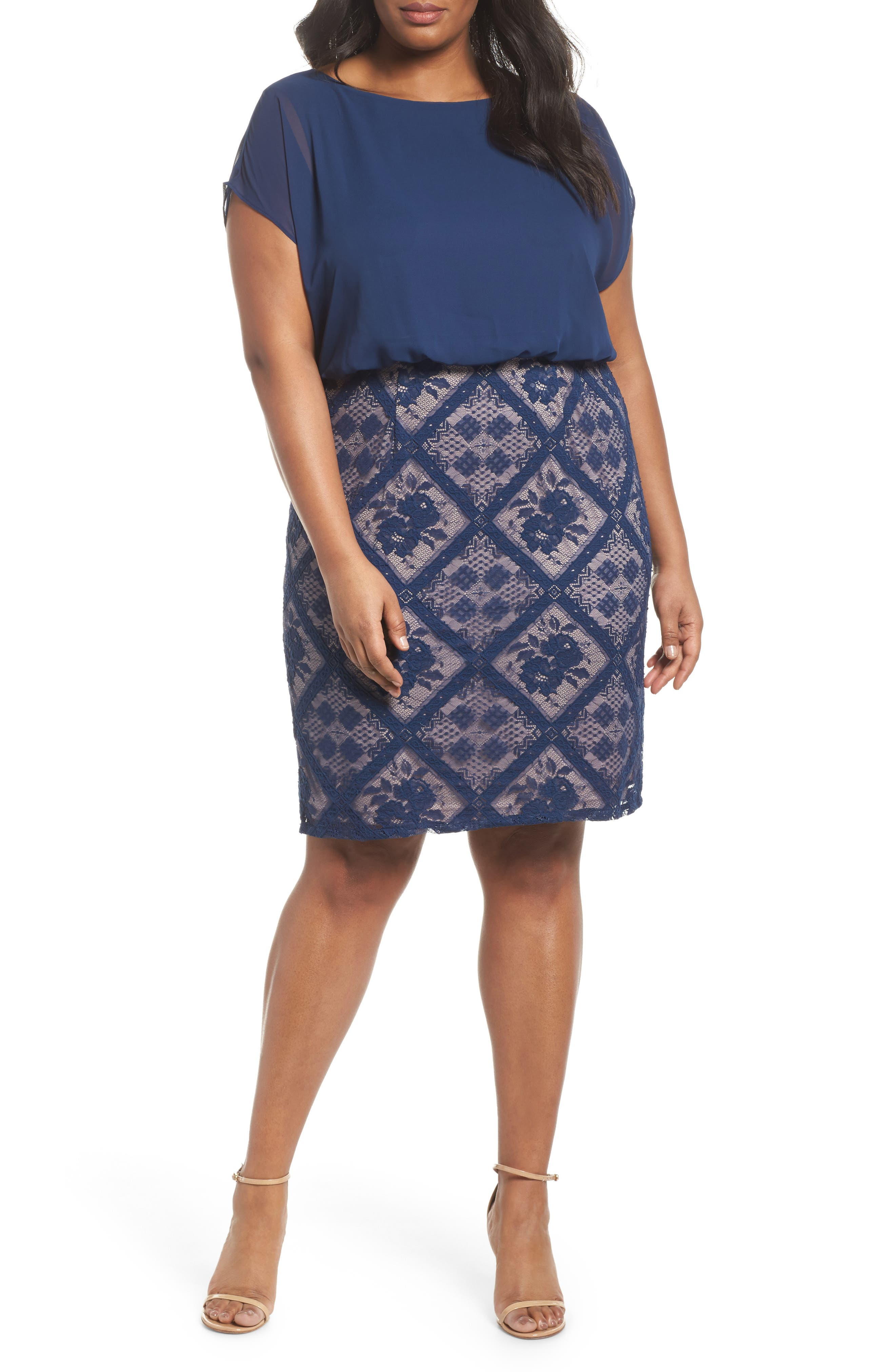 Chiffon & Lace Blouson Dress,                             Main thumbnail 1, color,                             412