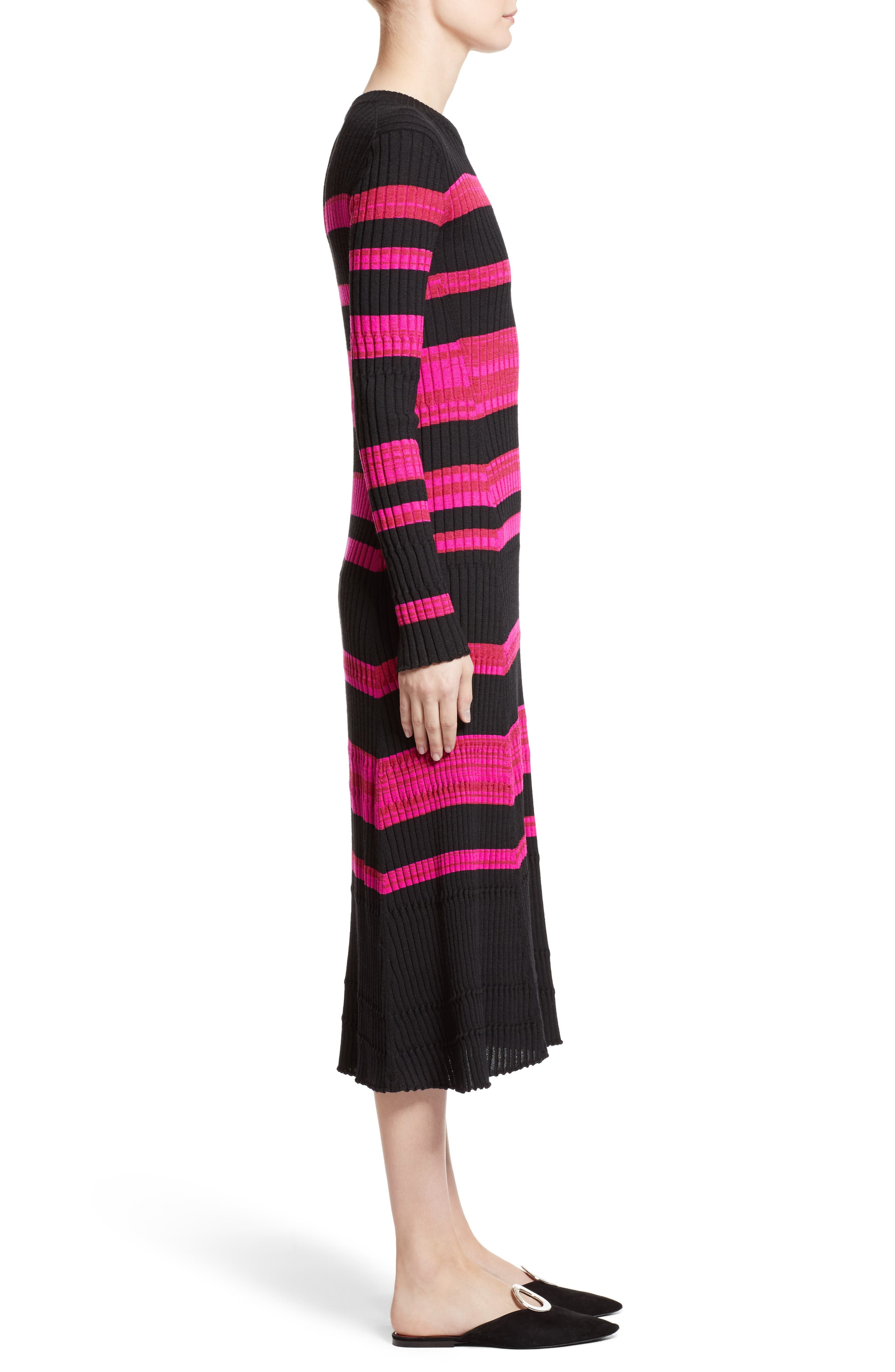 Stripe Cashmere, Wool & Silk Midi Dress,                             Alternate thumbnail 3, color,                             650